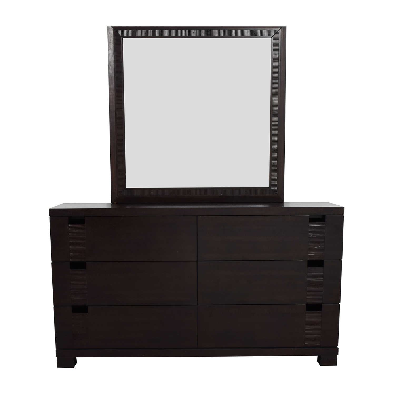 The Door Store The Door Store Dark Brown Wooden Six-Drawer Dresser with Mirror for sale