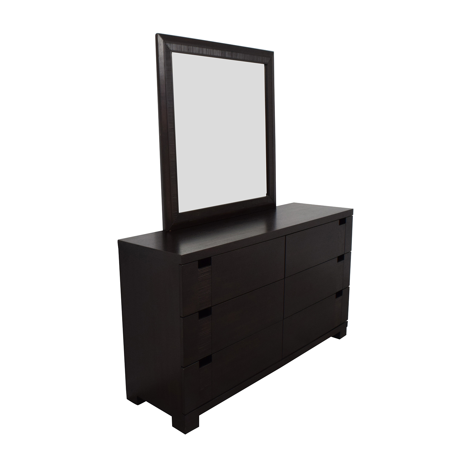 The Door Store The Door Store Dark Brown Wooden Six-Drawer Dresser with Mirror Storage