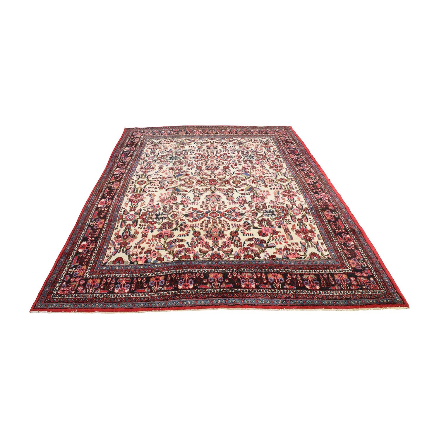 Handmade Vintage Red Persian Rug nj