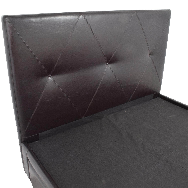 shop The Door Store Brown Leather Queen Bed with Storage The Door Store