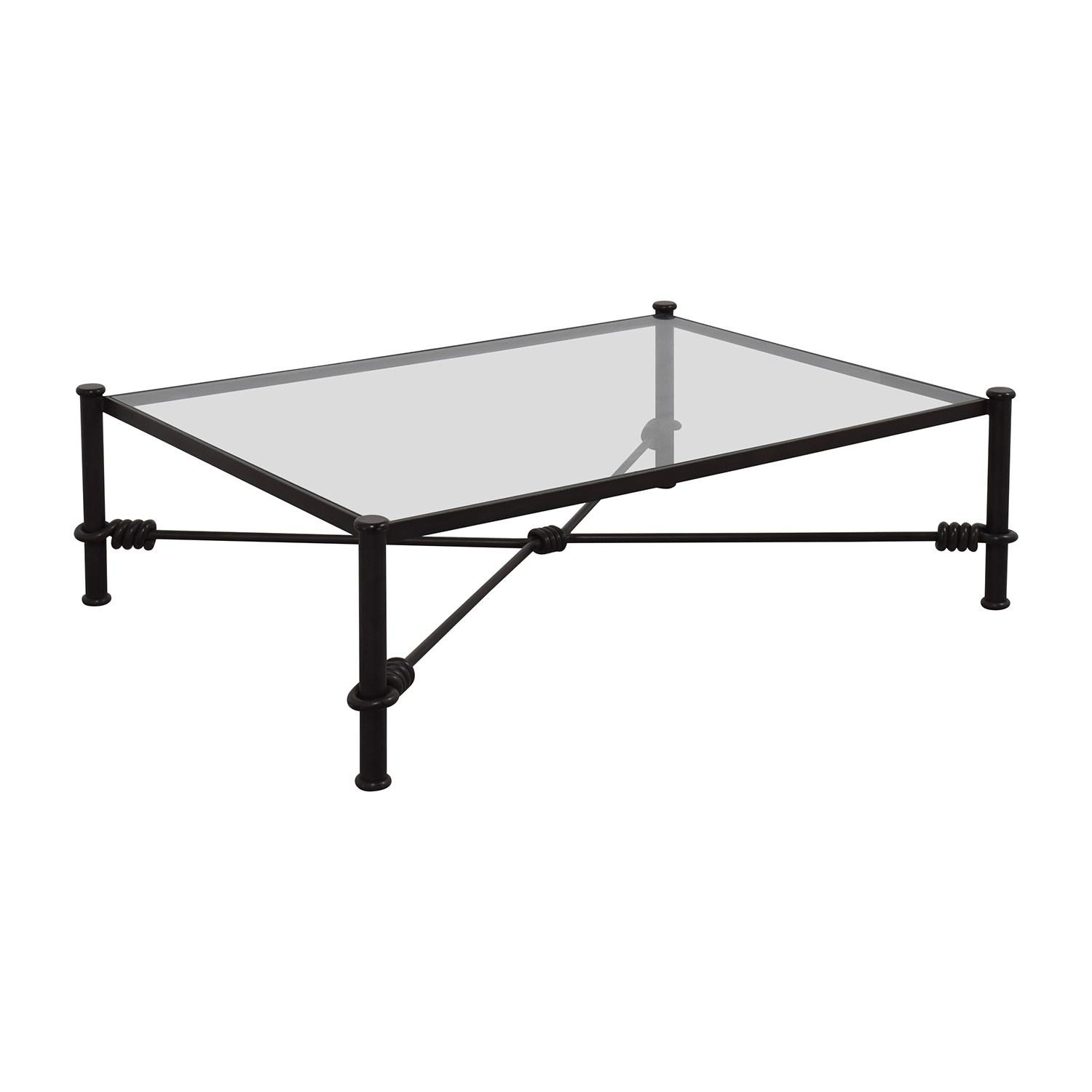 Black Wrought Iron Glass Coffee Table Tables