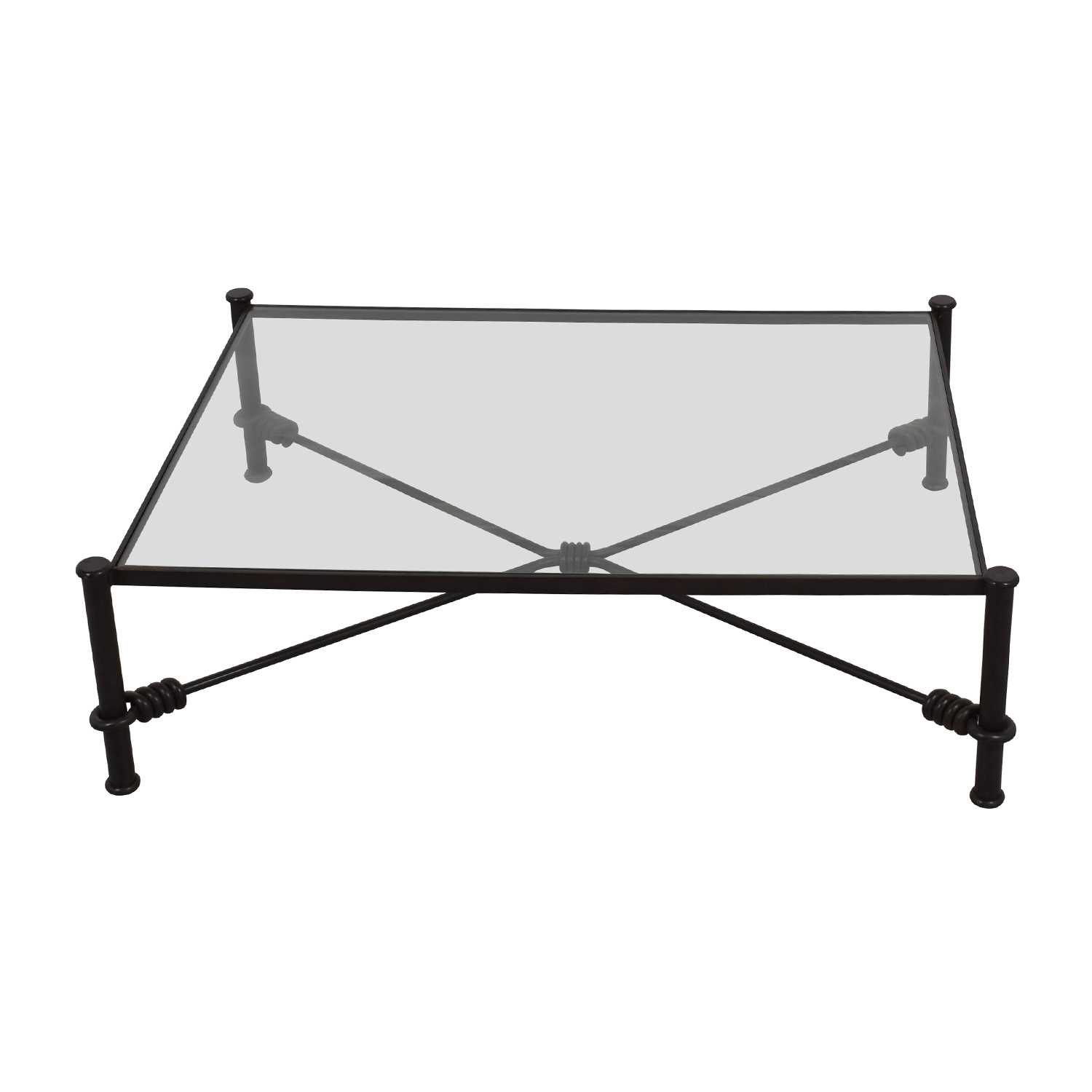 87% OFF Black Wrought Iron Glass Coffee Table Tables
