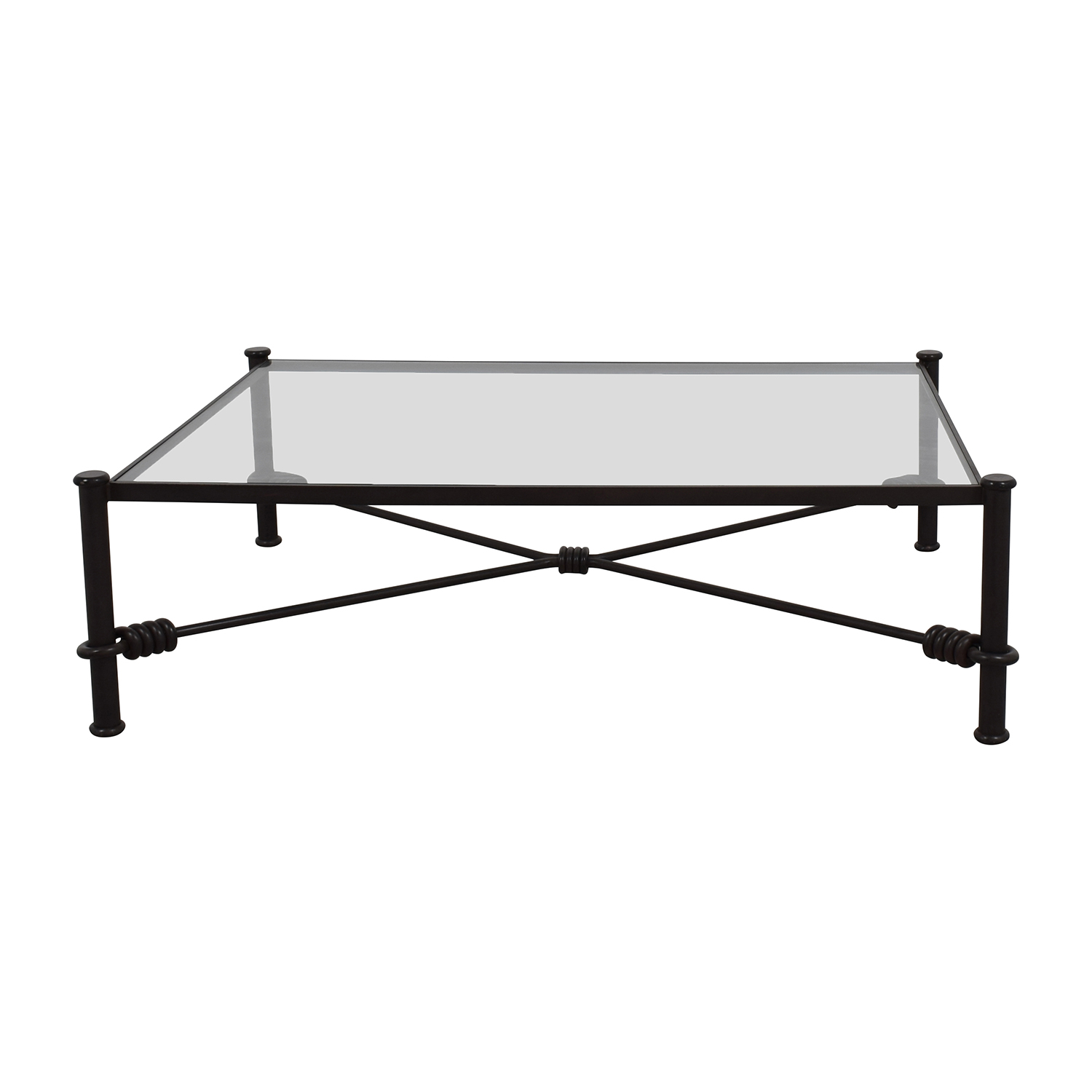 Charmant Black Wrought Iron Glass Coffee Table