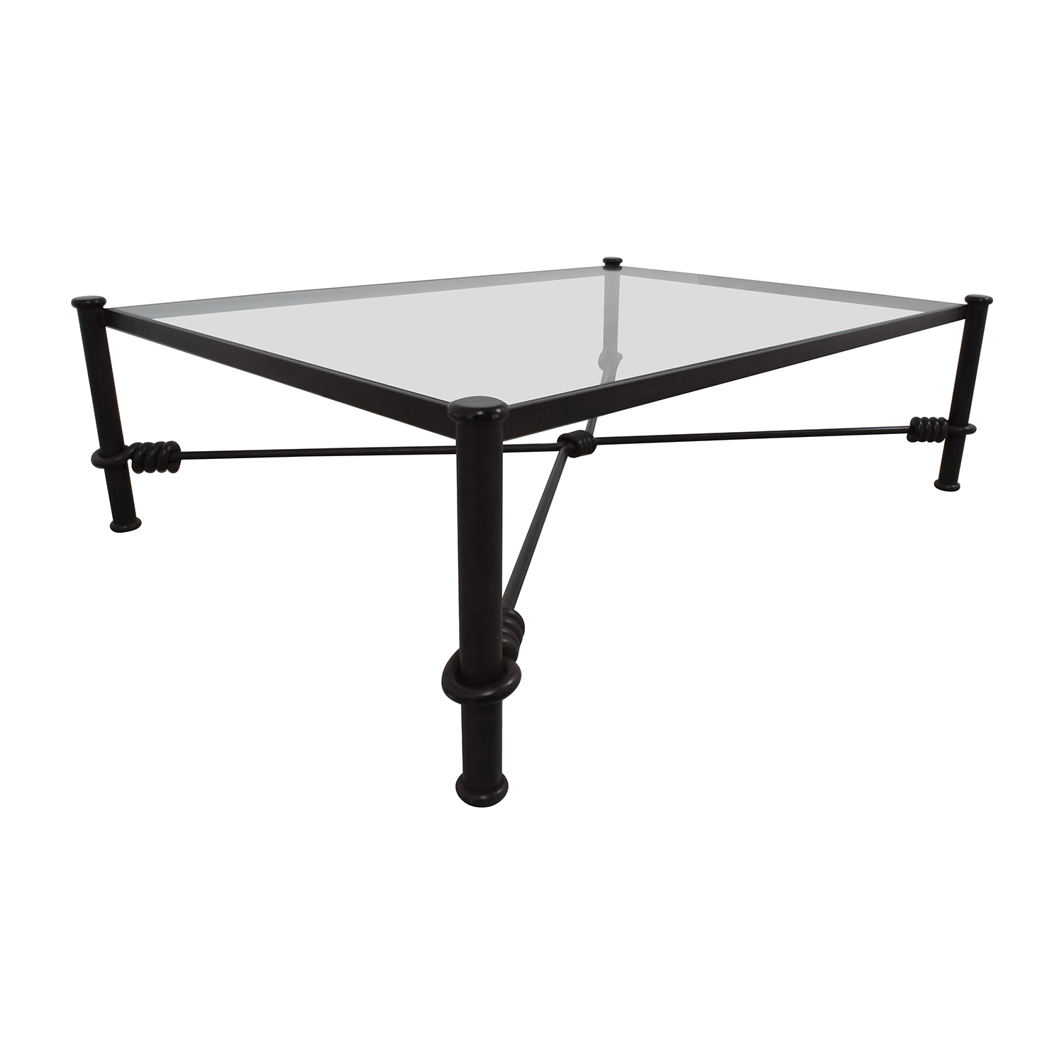 Black Wrought Iron Glass Coffee Table on sale