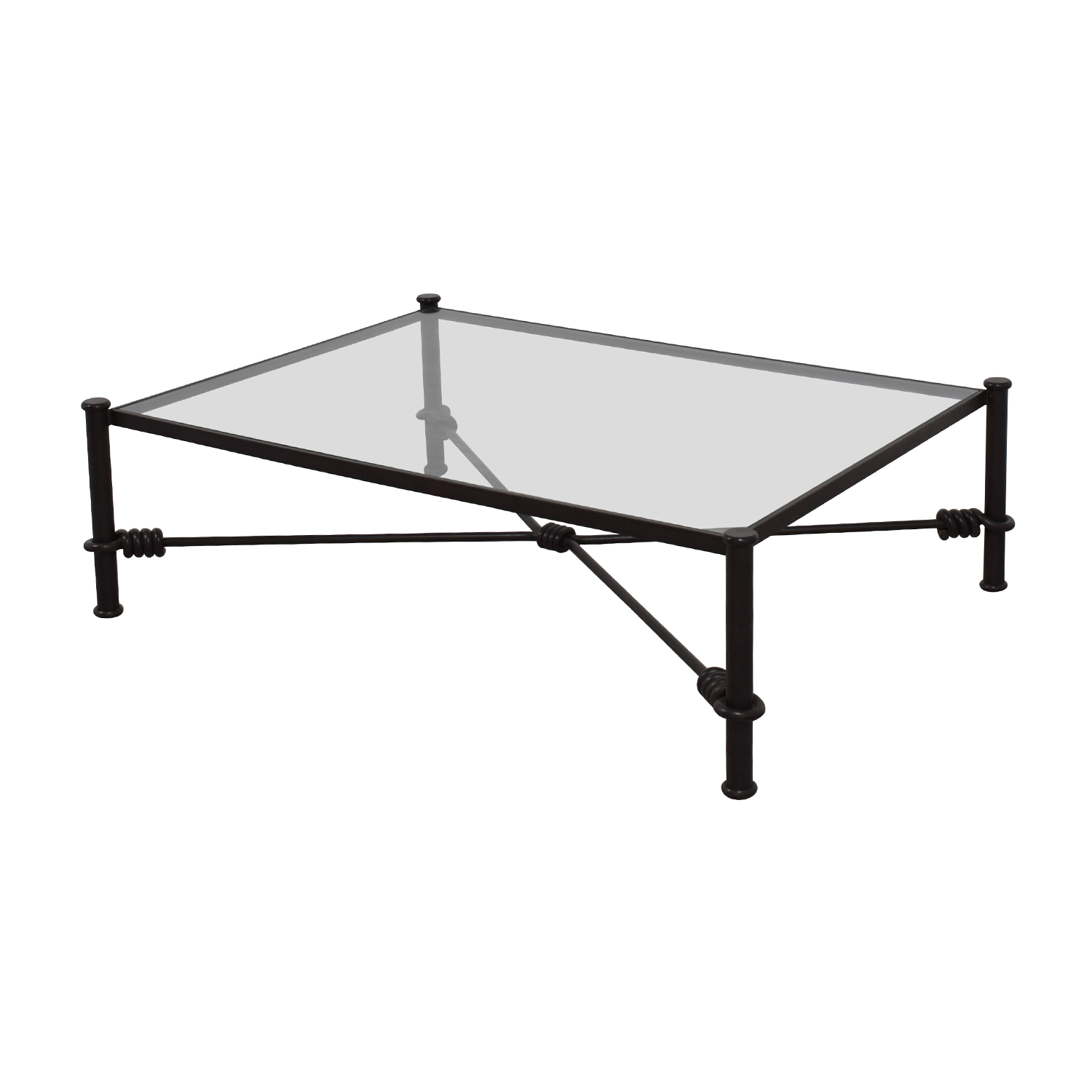 shop Black Wrought Iron Glass Coffee Table Coffee Tables