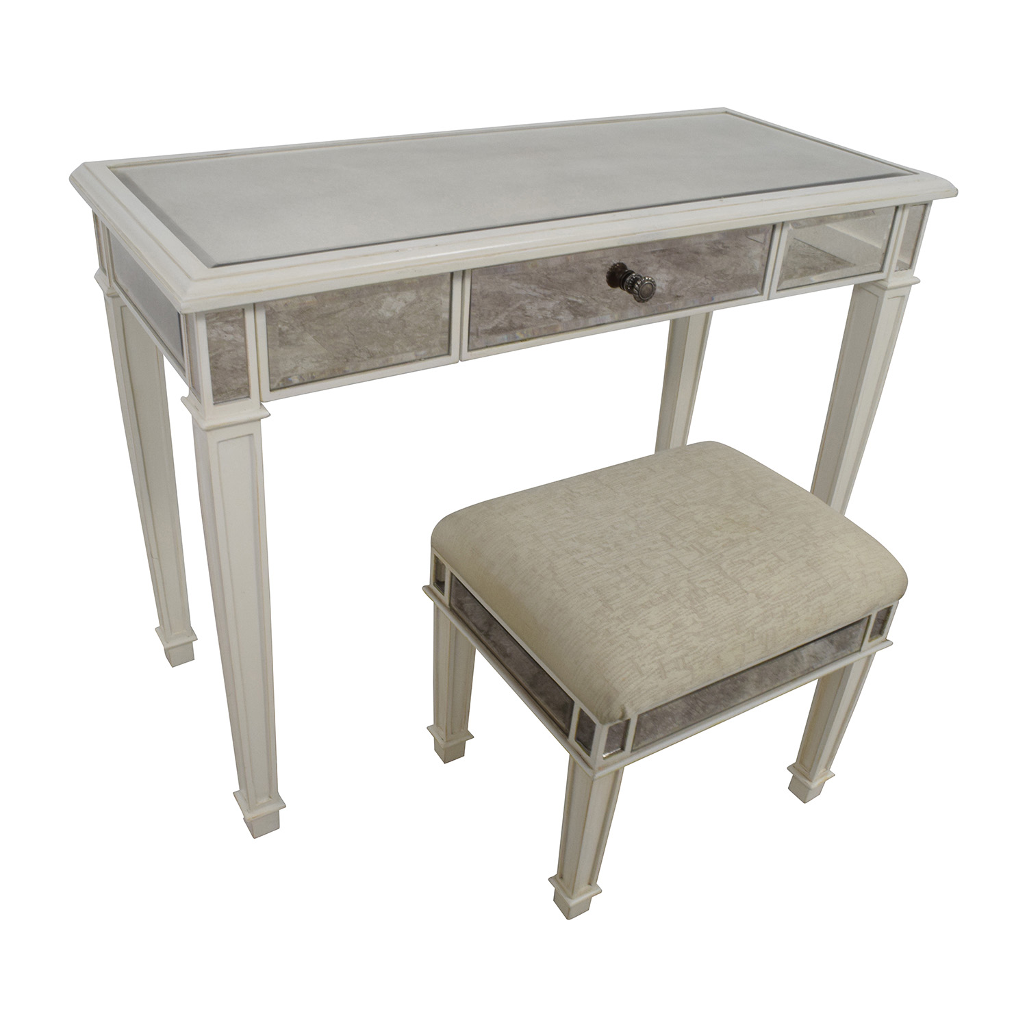 Strange 74 Off Pier 1 Pier 1 Imports Antique White Mirrored Vanity Table And Stool Tables Caraccident5 Cool Chair Designs And Ideas Caraccident5Info