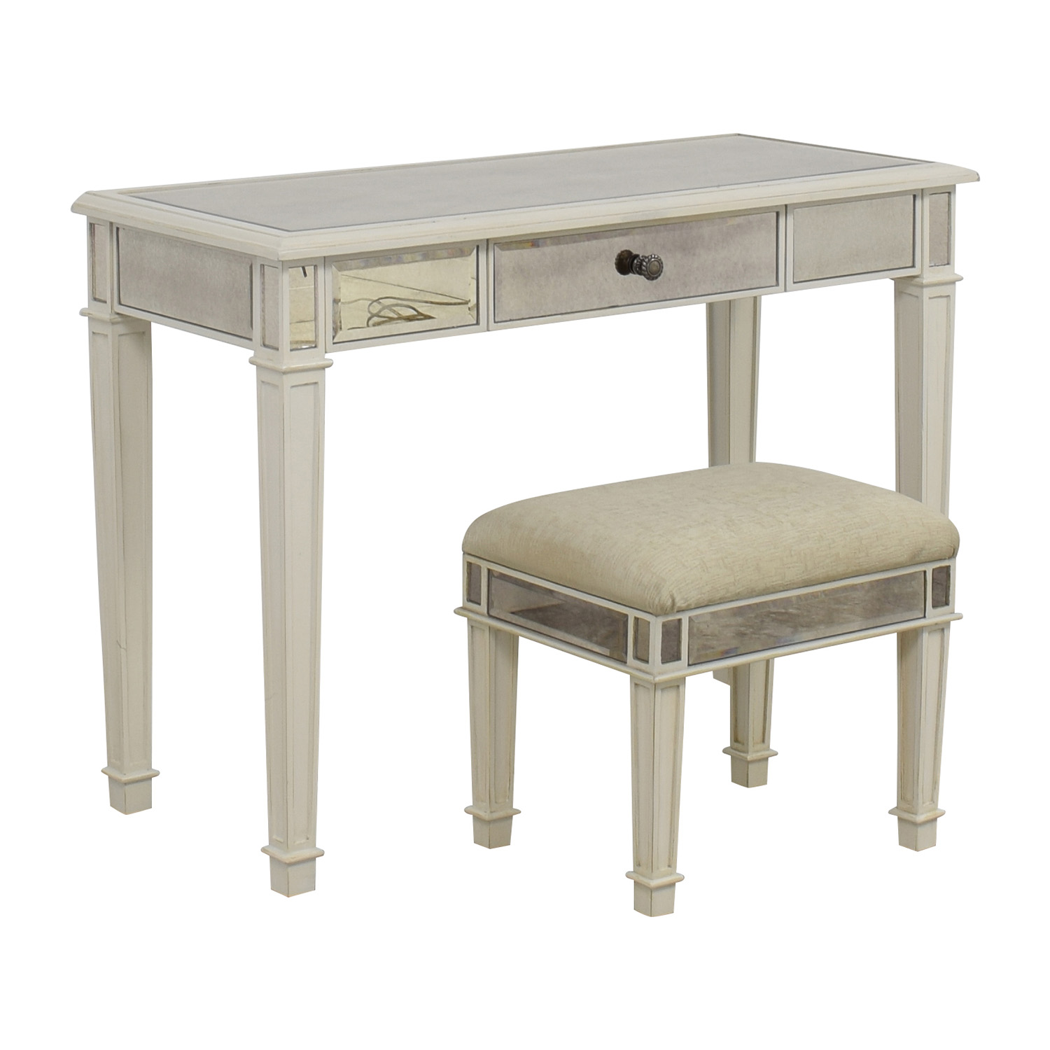 Fantastic 74 Off Pier 1 Pier 1 Imports Antique White Mirrored Vanity Table And Stool Tables Caraccident5 Cool Chair Designs And Ideas Caraccident5Info