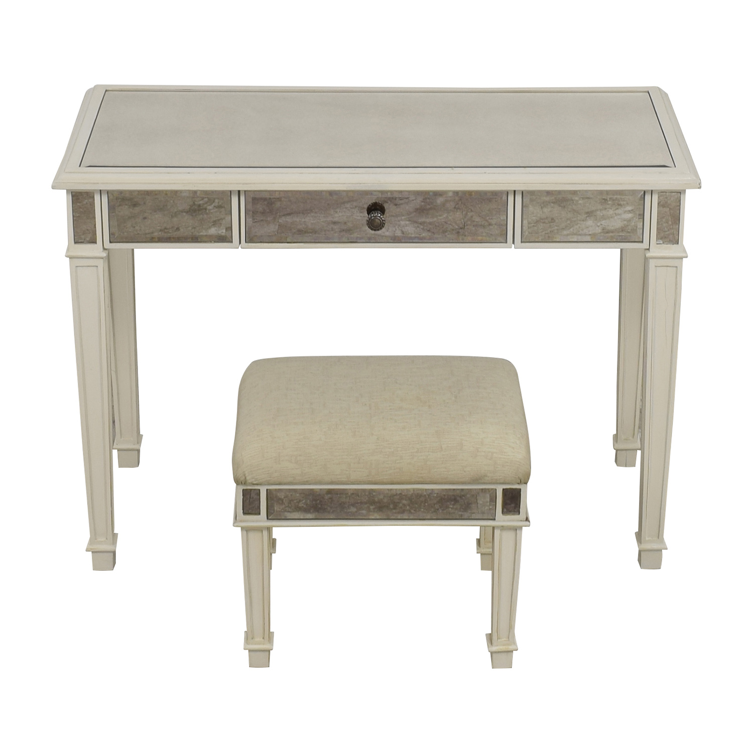 Pier 1 Imports Antique White Mirrored Vanity Table and Stool / Utility Tables