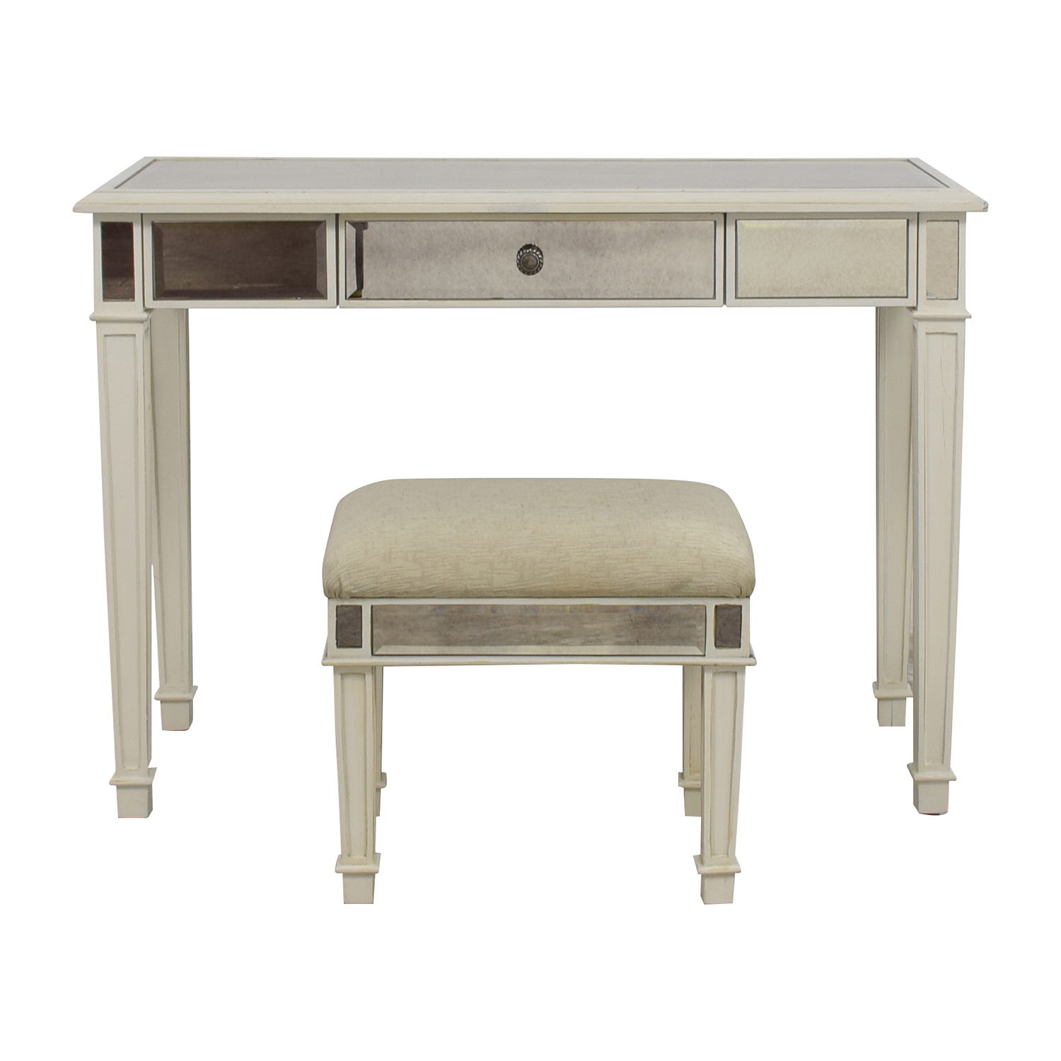 74 Off Pier 1 Pier 1 Imports Antique White Mirrored Vanity Table And Stool Tables