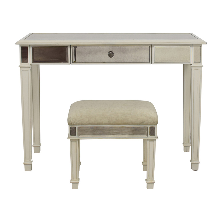 shop Pier 1 Imports Antique White Mirrored Vanity Table and Stool Pier 1