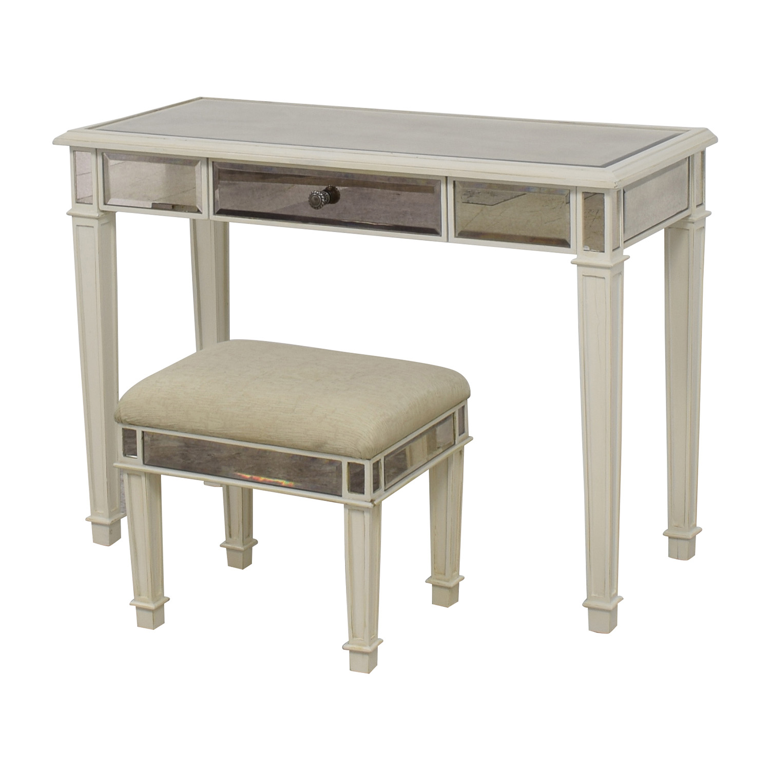 Picture of: 74 Off Pier 1 Pier 1 Imports Antique White Mirrored Vanity Table And Stool Tables