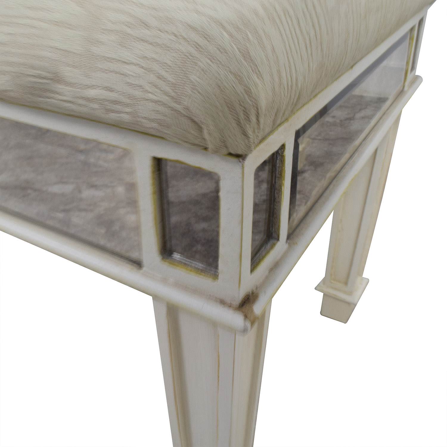 Pier 1 Imports Antique White Mirrored Vanity Table and Stool / Tables