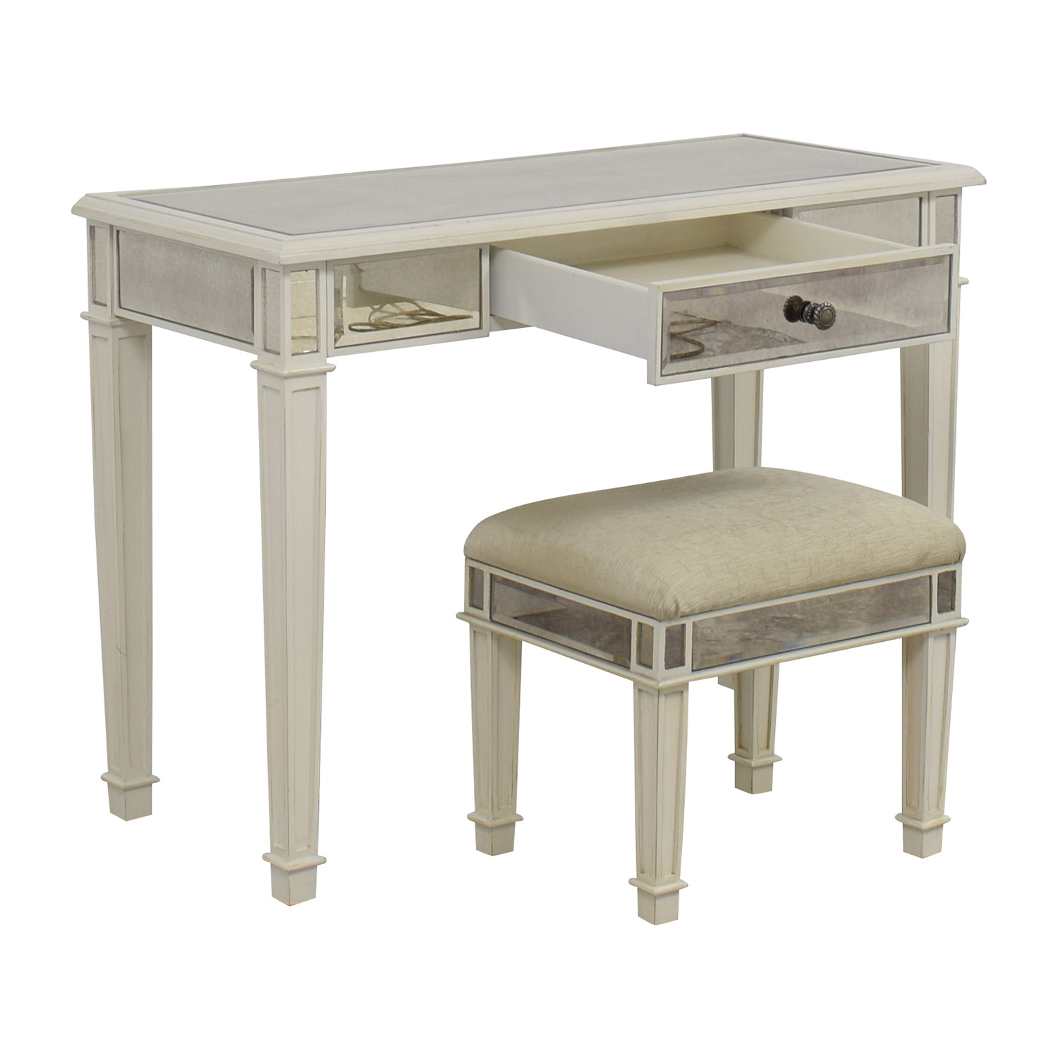 Pier 1 Imports Pier 1 Imports Antique White Mirrored Vanity Table and Stool Utility Tables