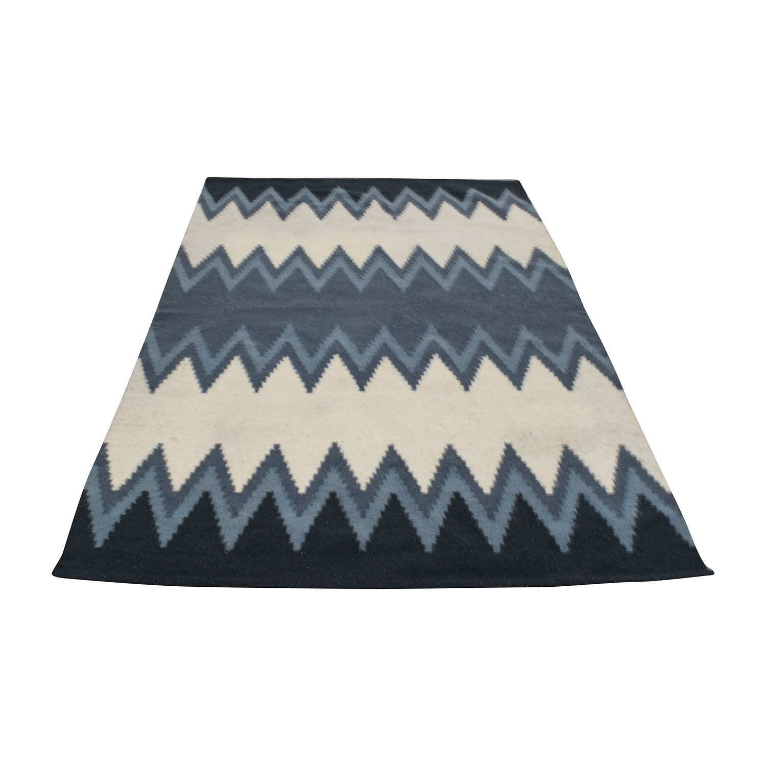 West Elm Blue and Beige Rug / Decor