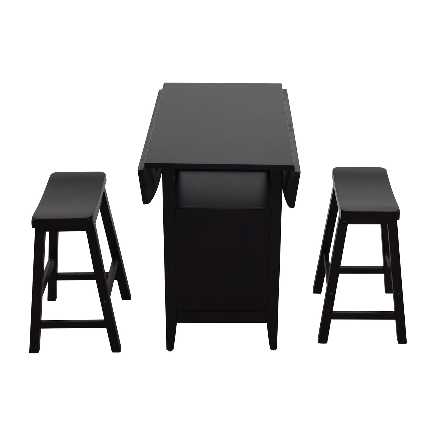 shop Dinette Wood Table with Storage with Two Stools