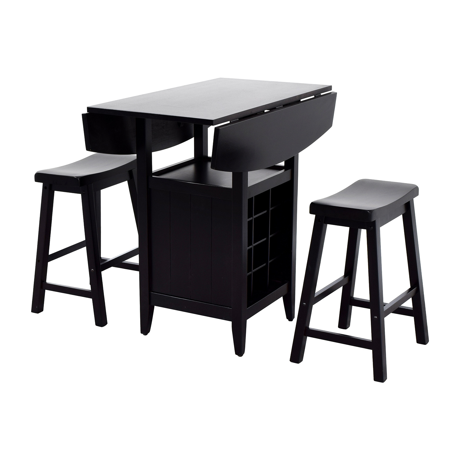 Dinette Wood Table with Storage with Two Stools Tables