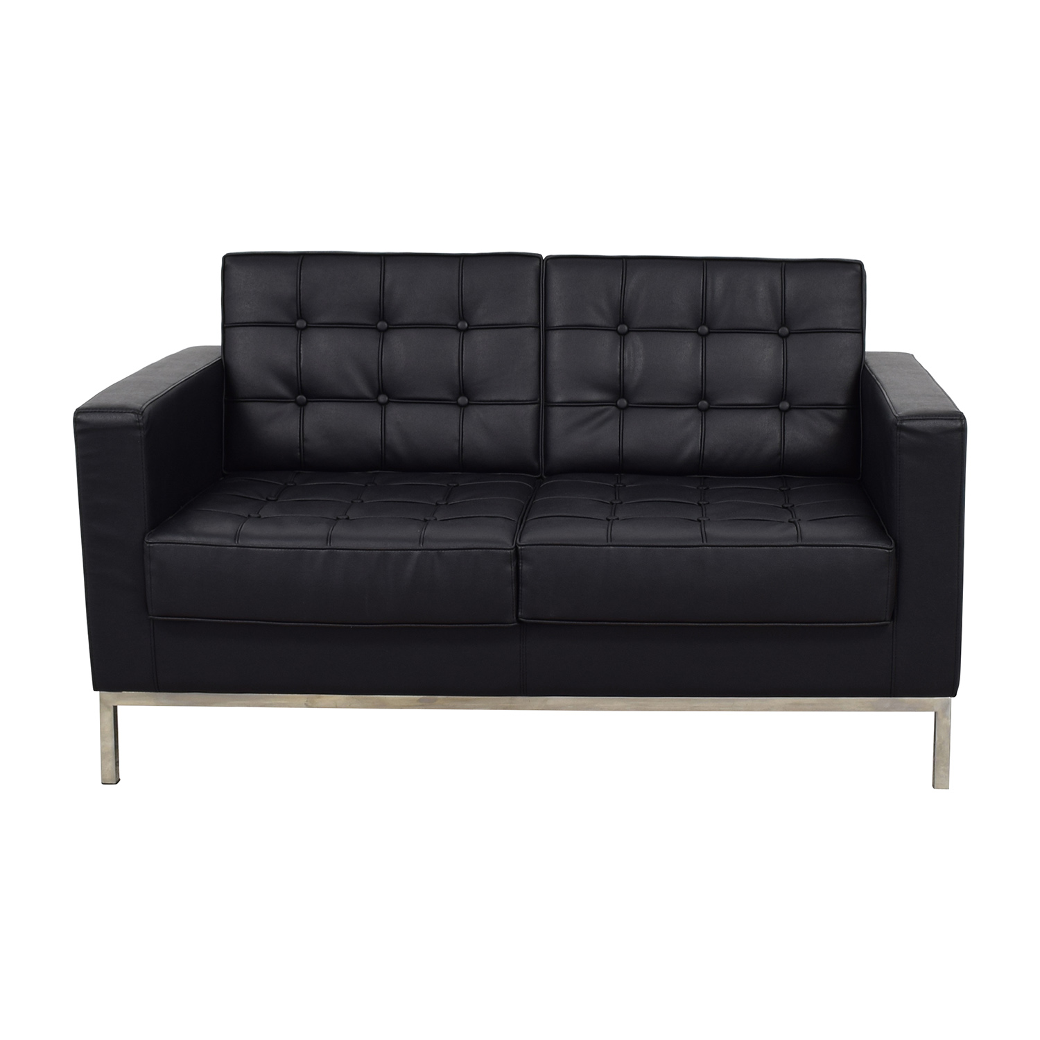 Lacey Series Contemporary Black Leather Loveseat Lacey Series