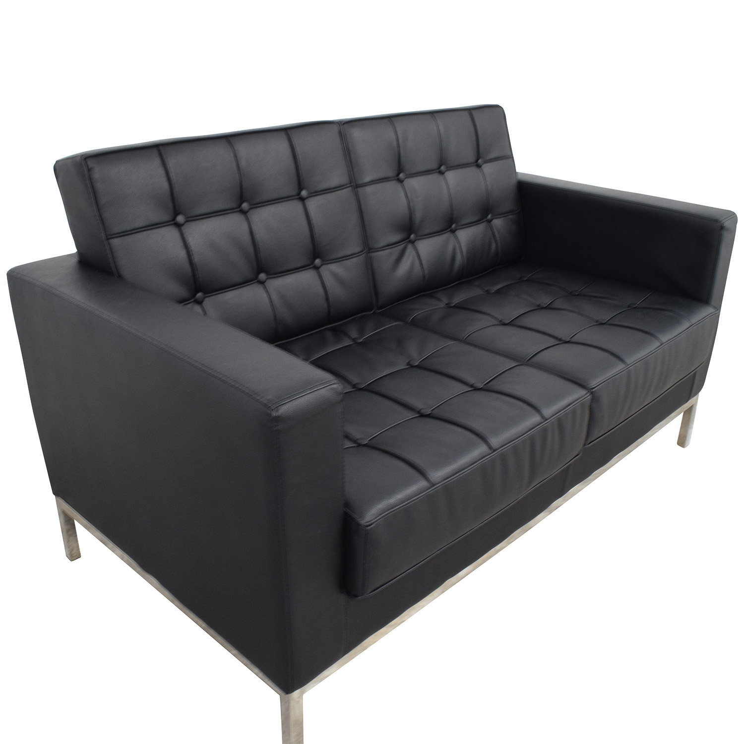 Lacey Series Lacey Series Contemporary Black Leather Loveseat
