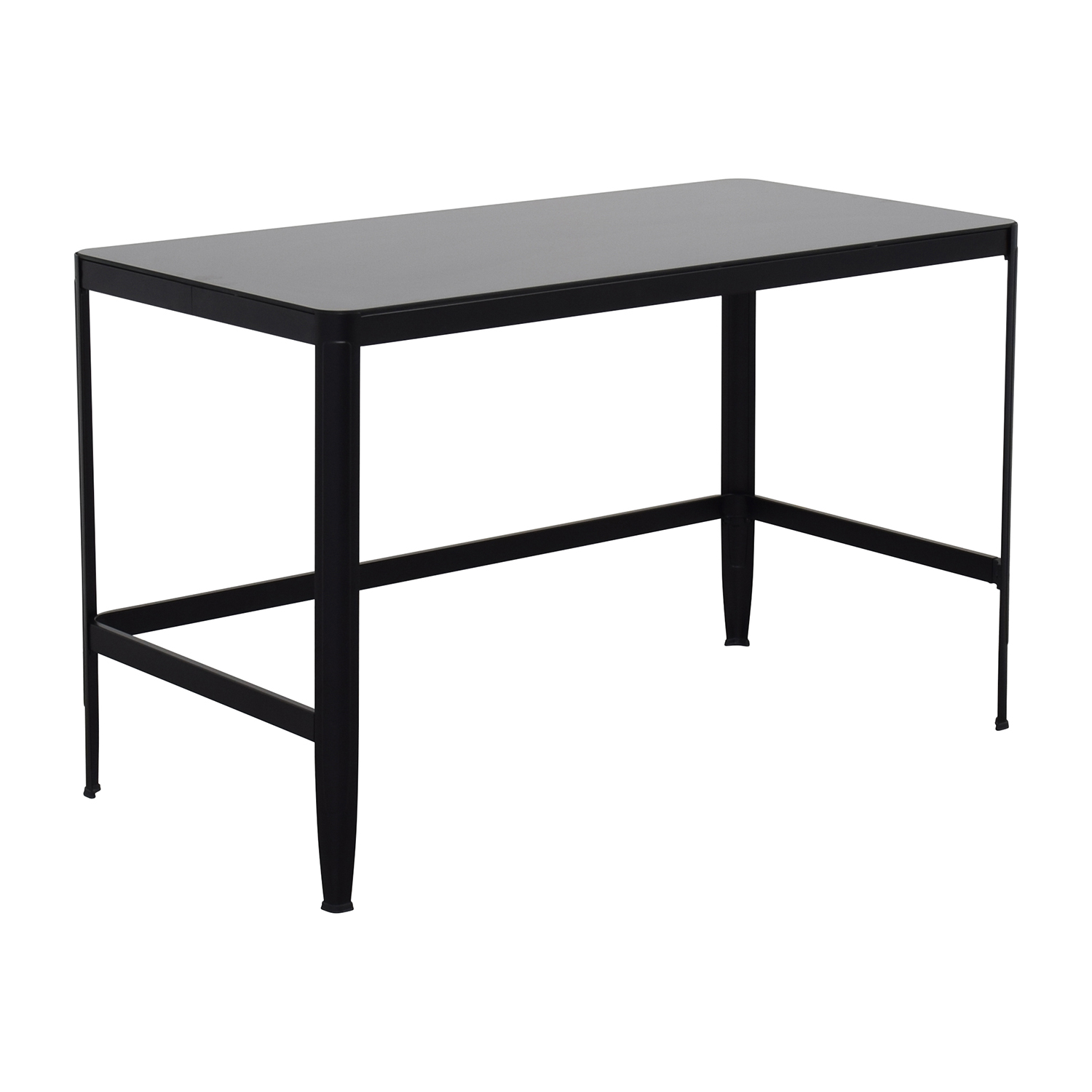 Modern Black Metal Table with Glass Top / Tables