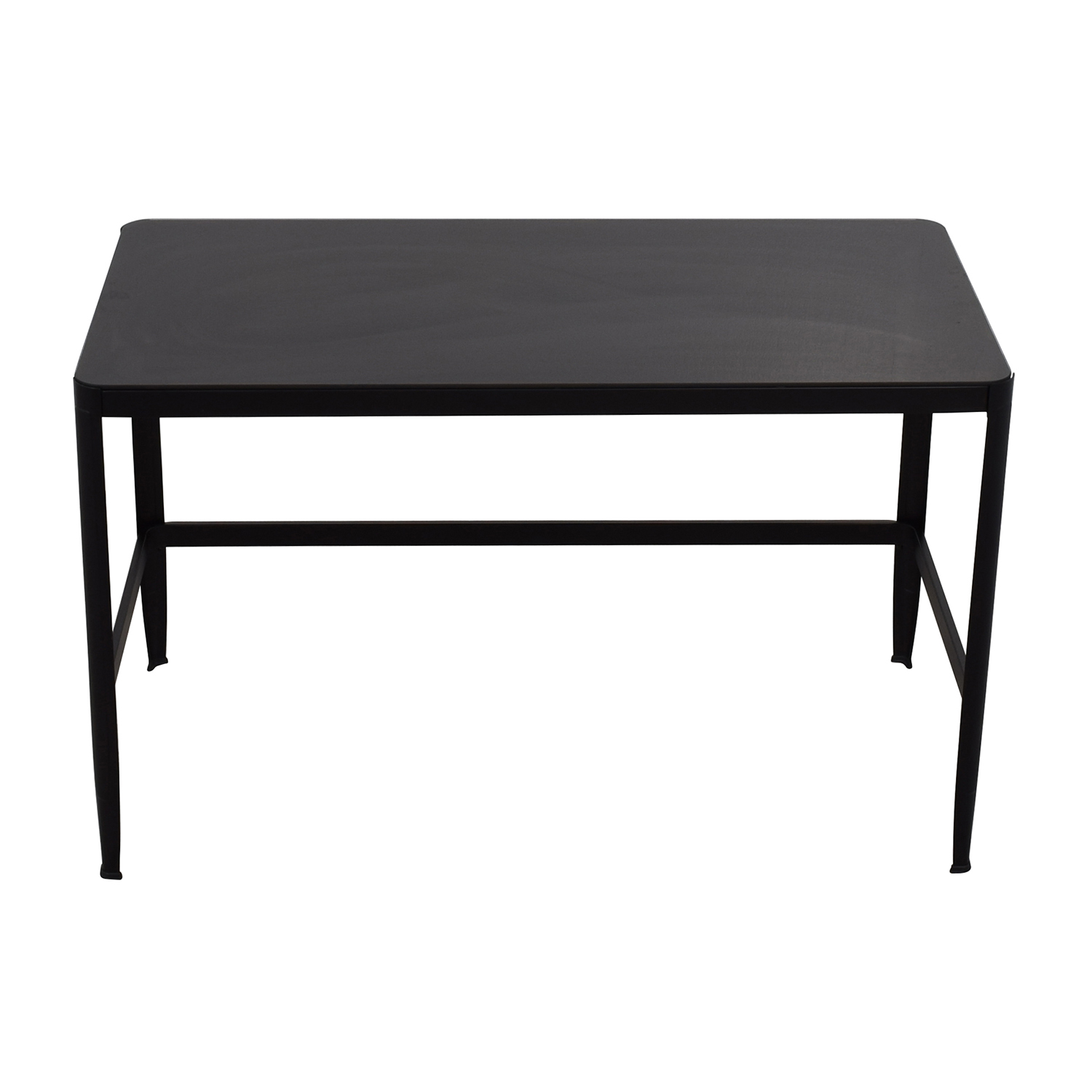 Modern Black Metal Table with Glass Top nj