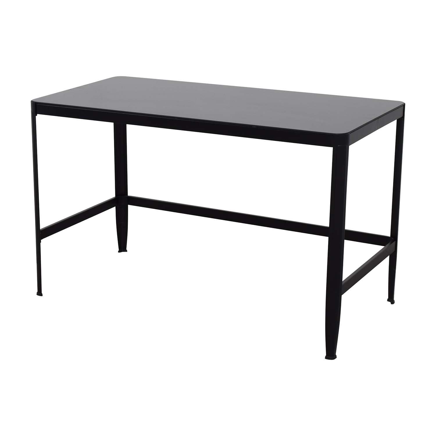 Modern Black Metal Table with Glass Top Tables