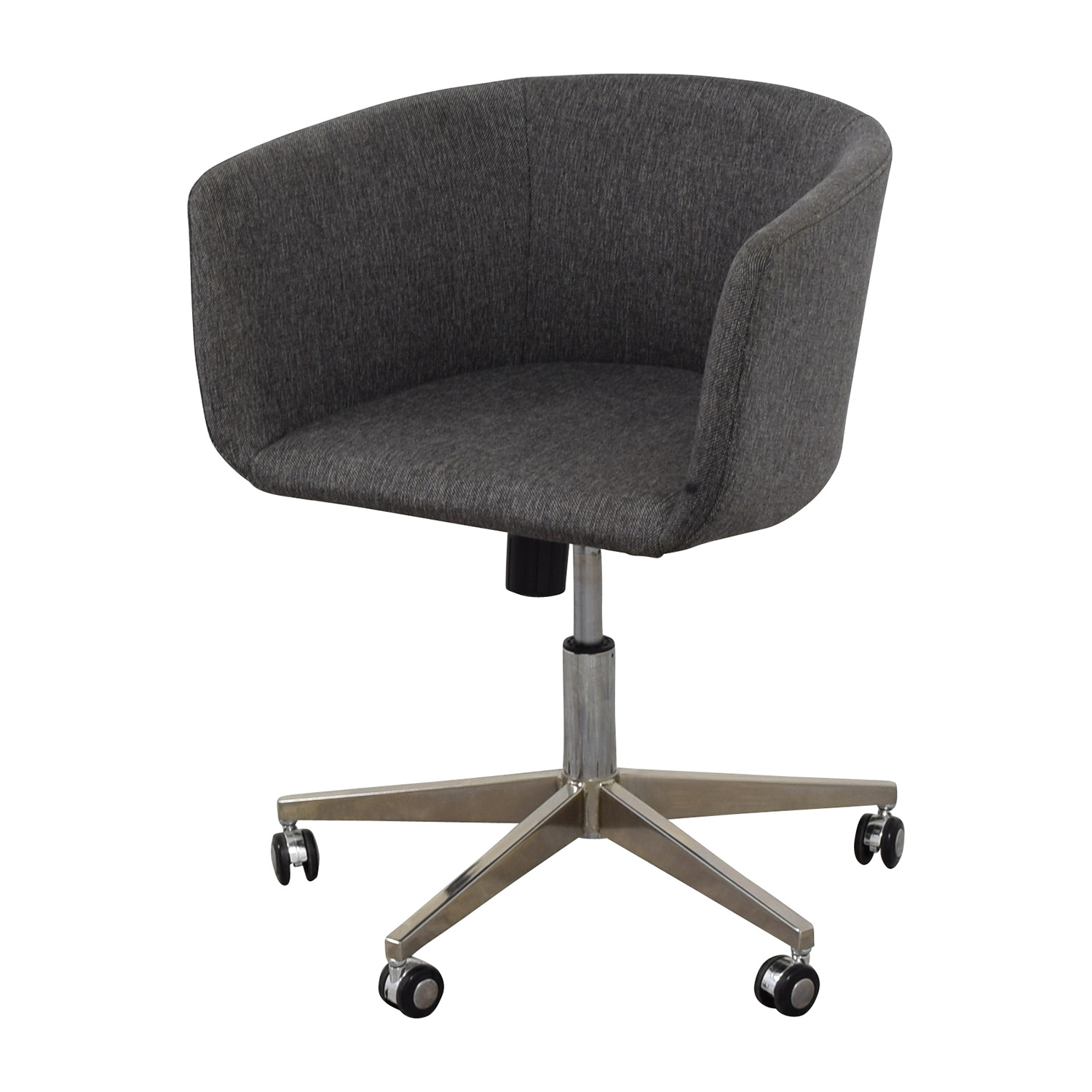 80 off modern grey office chair with chrome wheels chairs for Home office chairs with wheels