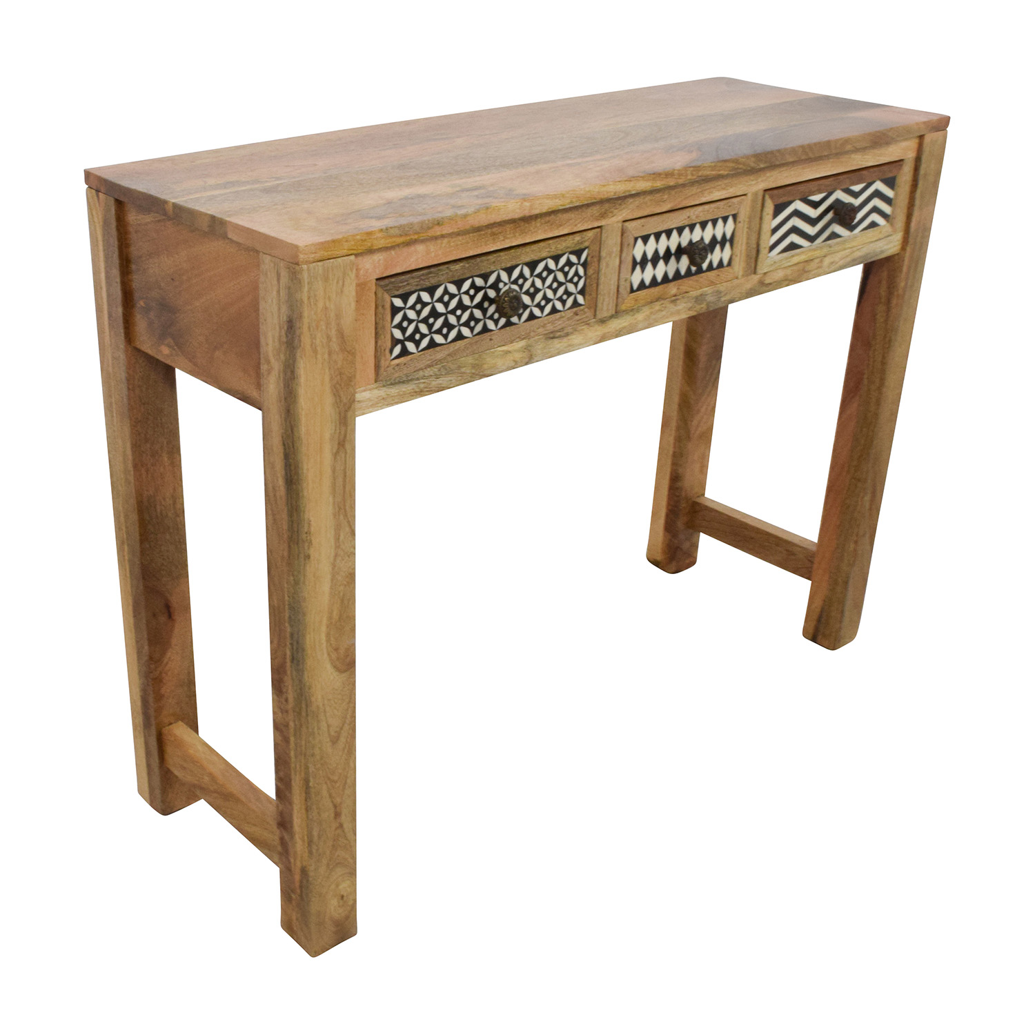 Off natural wood table with patterned drawers tables