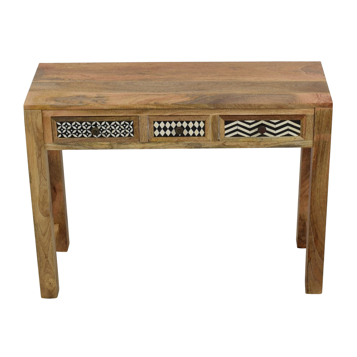 Natural Wood Table with Patterned Drawers used