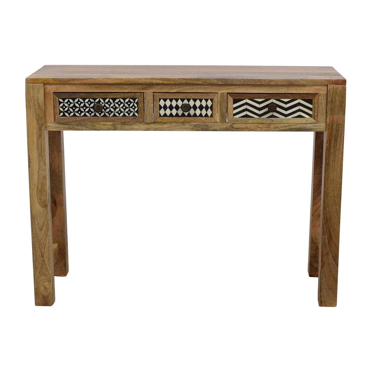 shop Natural Wood Table with Patterned Drawers online