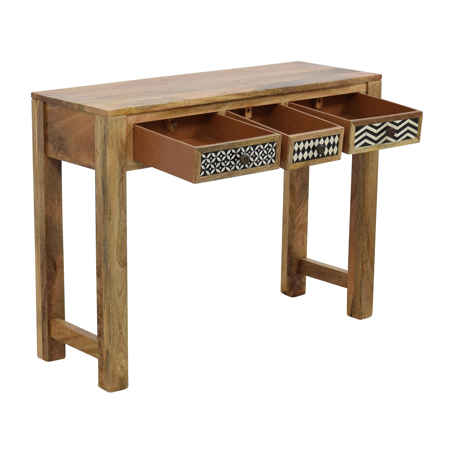 Natural Wood Table with Patterned Drawers brown