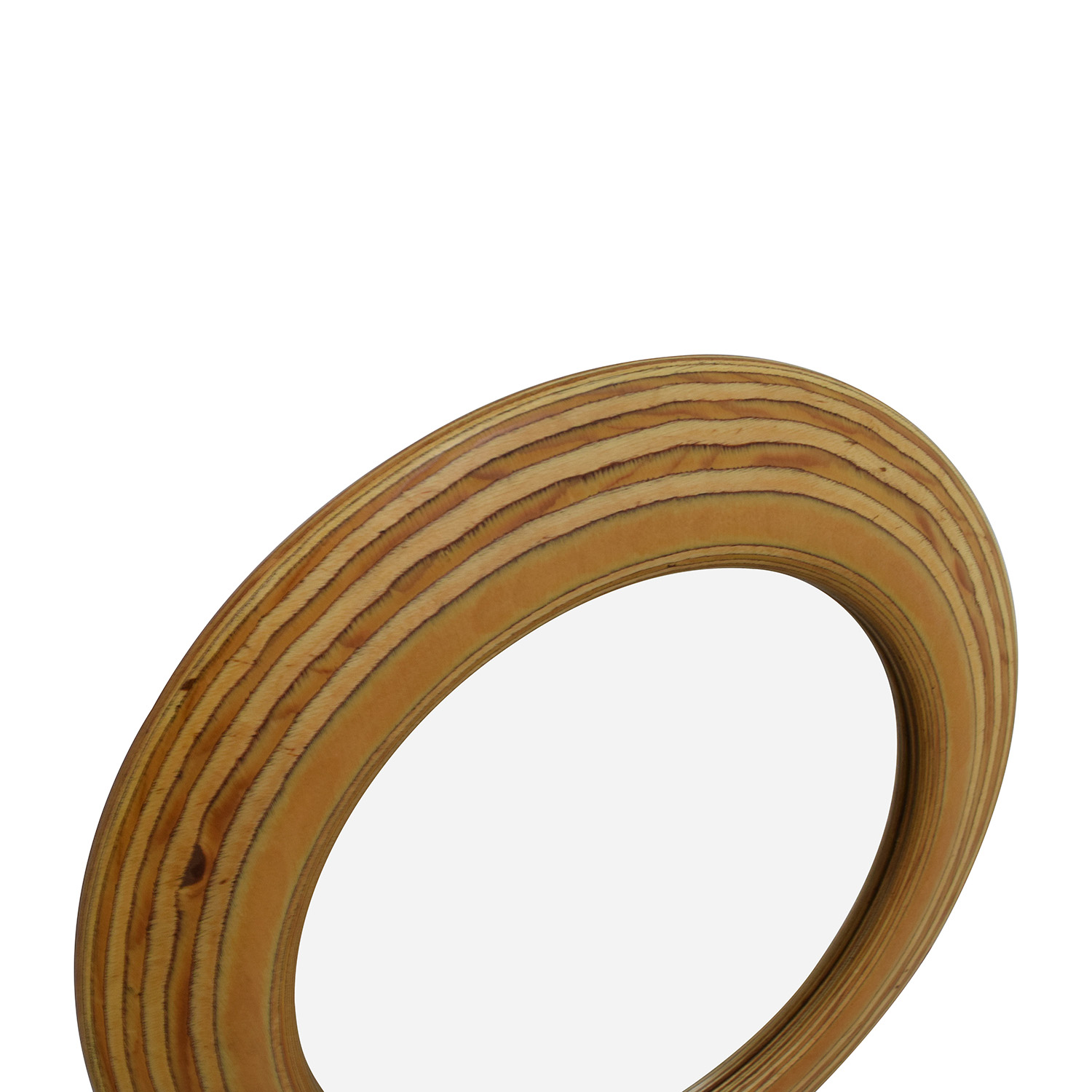 Round Rustic 21 Wooden Mirror brown
