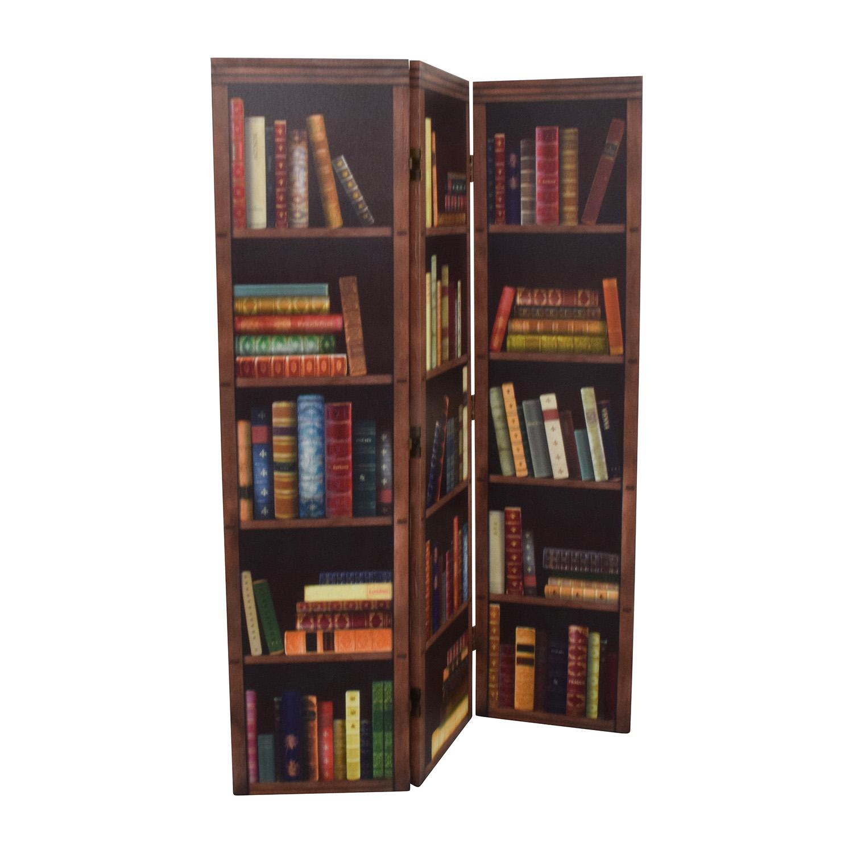 Faux Bookshelf Dividing Screen brown