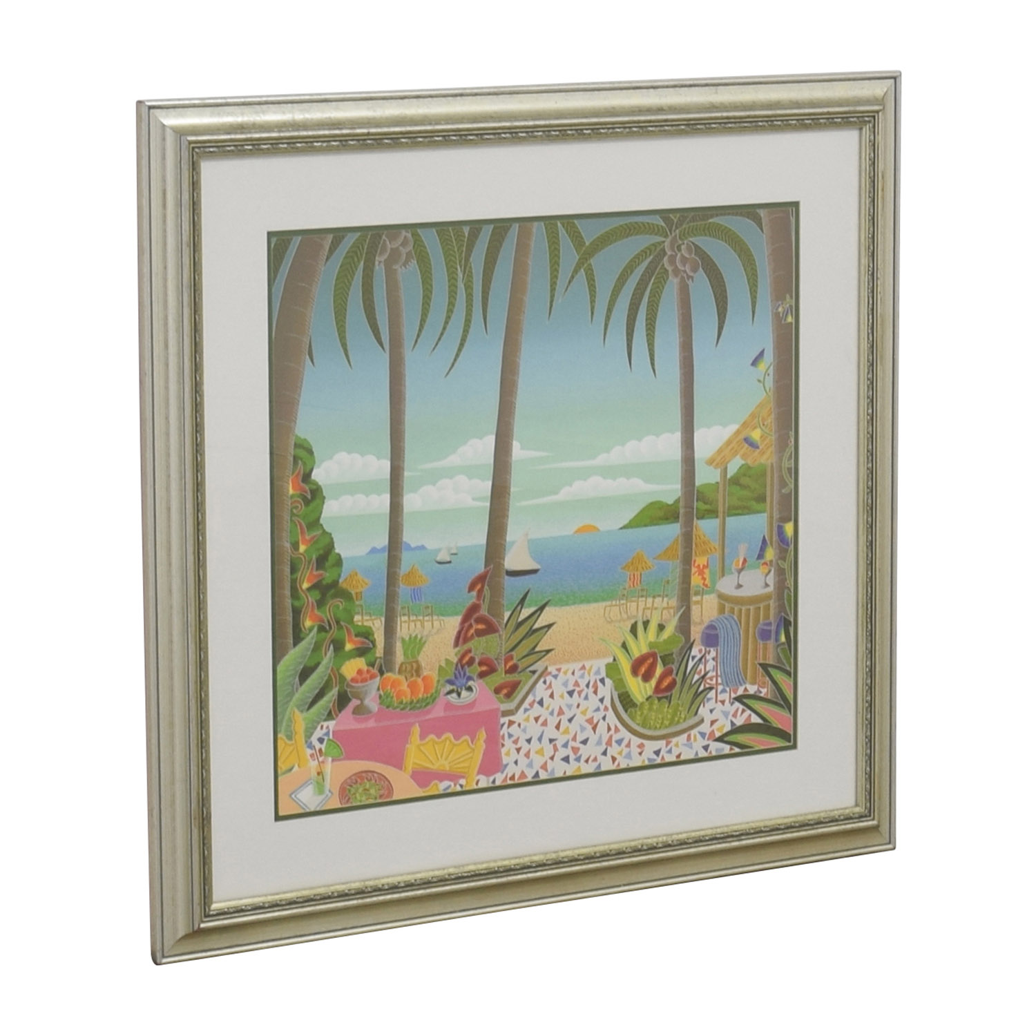 Caribbean Seascape with Gold Frame Wall Art