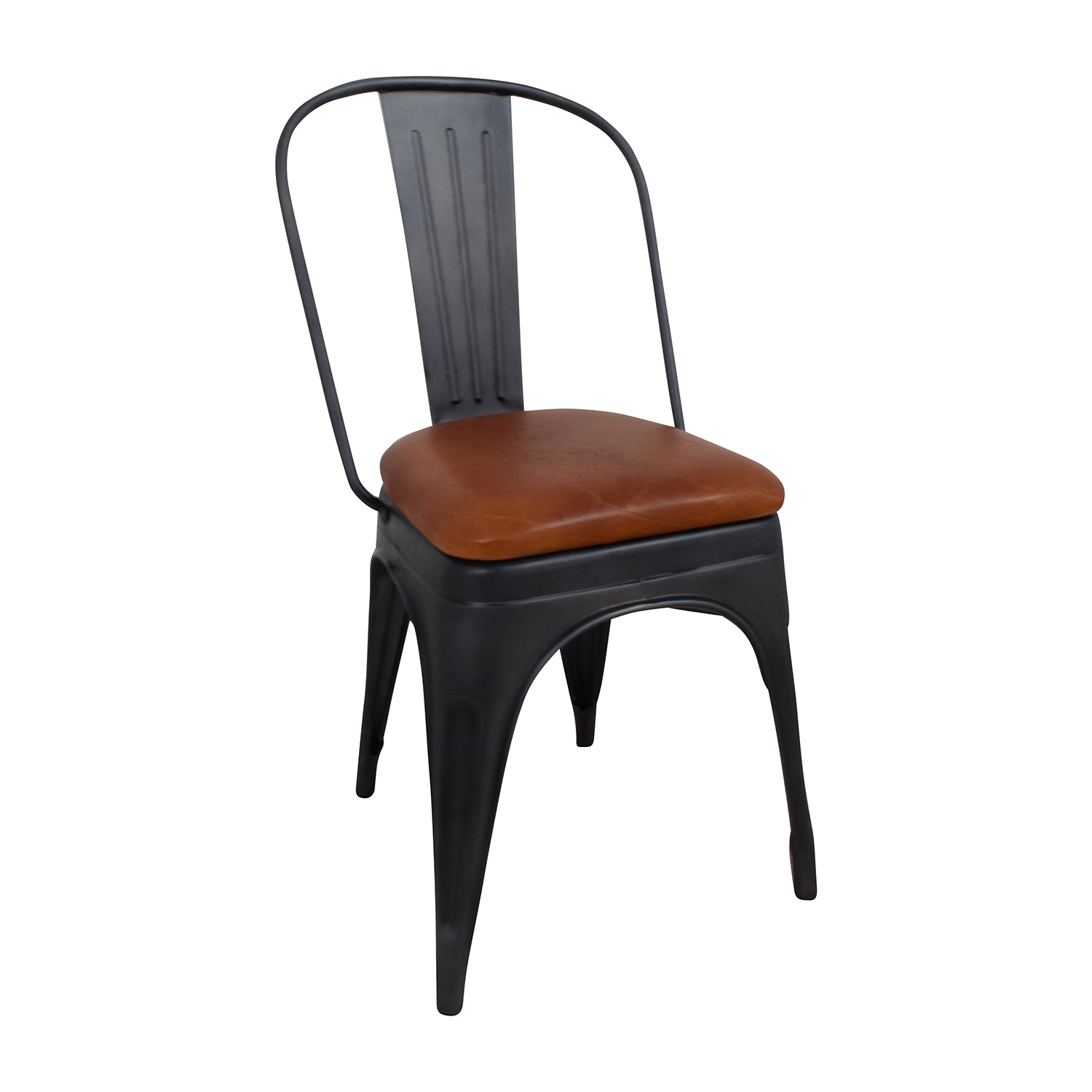 Modern Steel Desk Chair with Brown Leather Seat price
