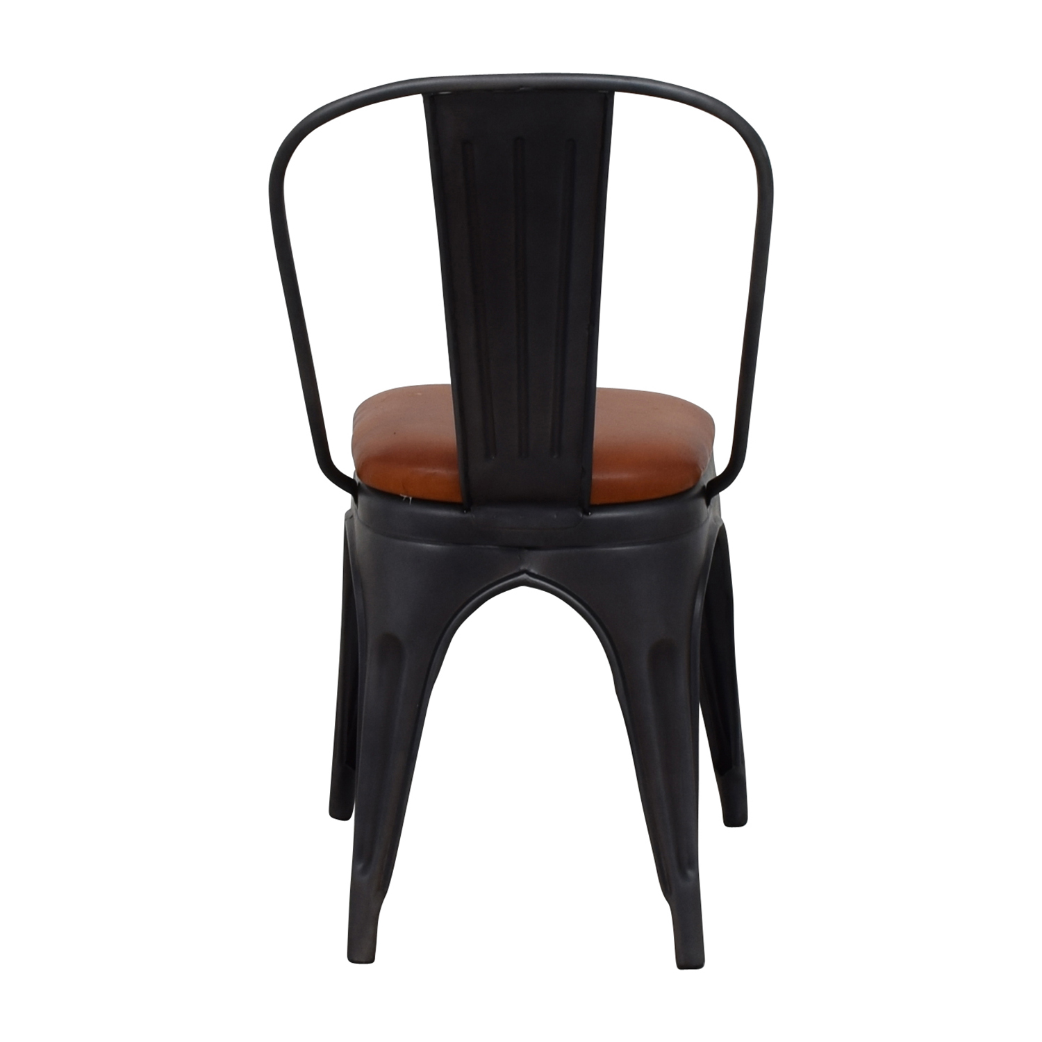 Modern Steel Desk Chair with Brown Leather Seat discount