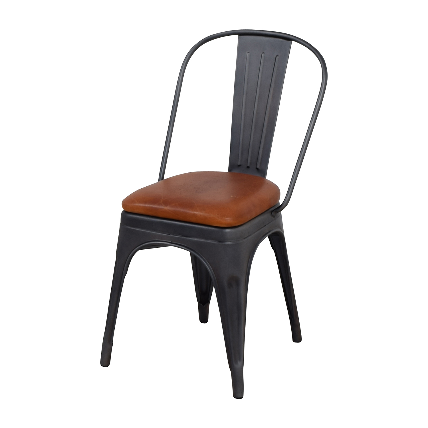 shop Modern Steel Desk Chair with Brown Leather Seat online