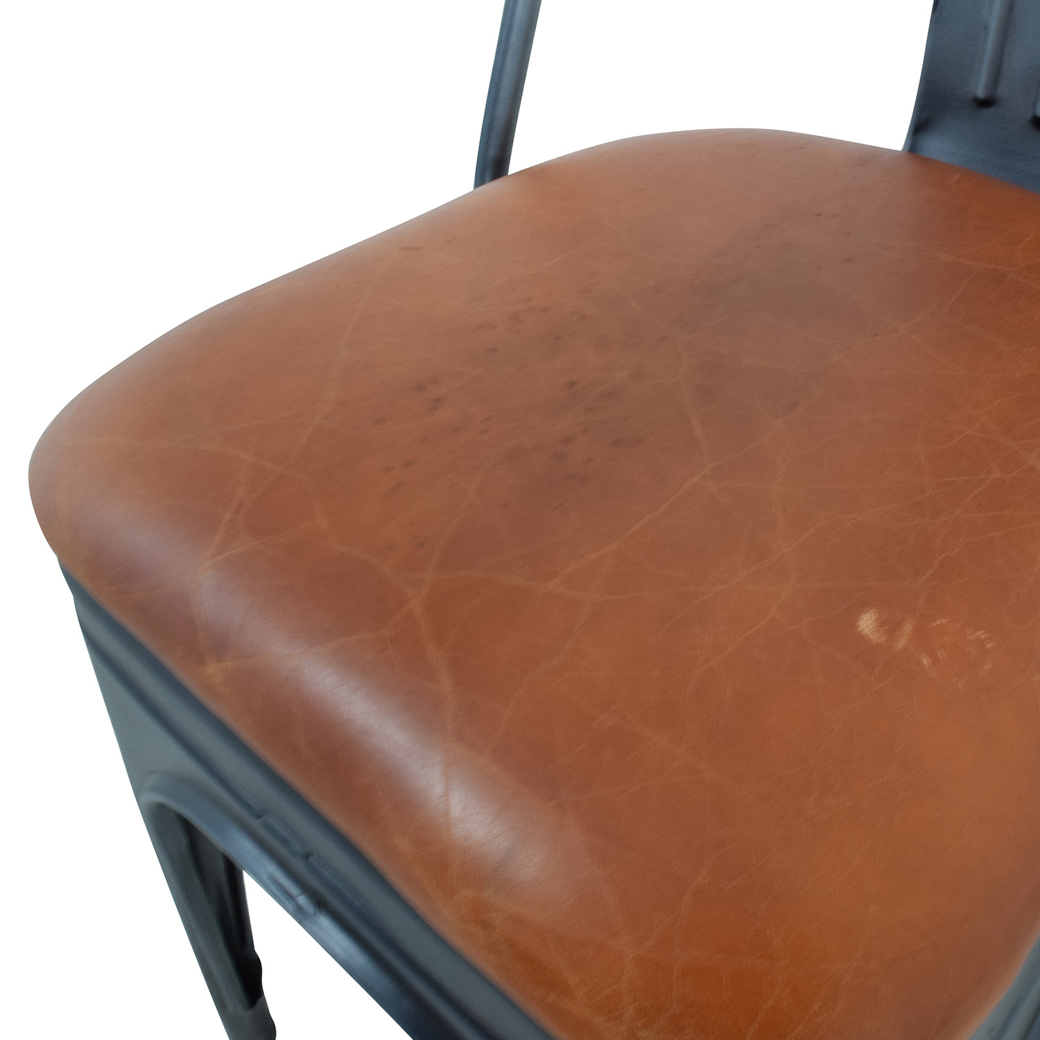 buy Modern Steel Desk Chair with Brown Leather Seat Chairs