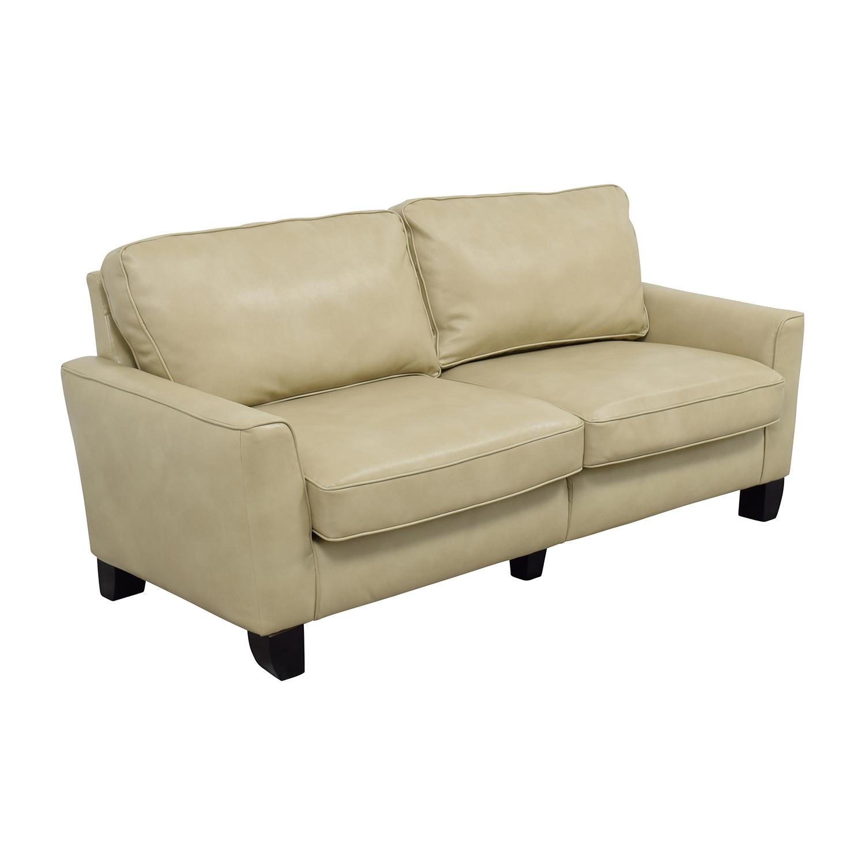 Serta Serta Astoria Coated Fabric Sofa in Cannoli Cream nj
