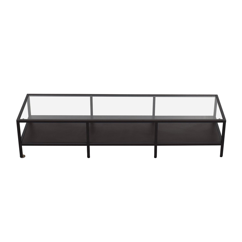 IKEA IKEA Metal Glass Coffee Table Media Unit dark brown