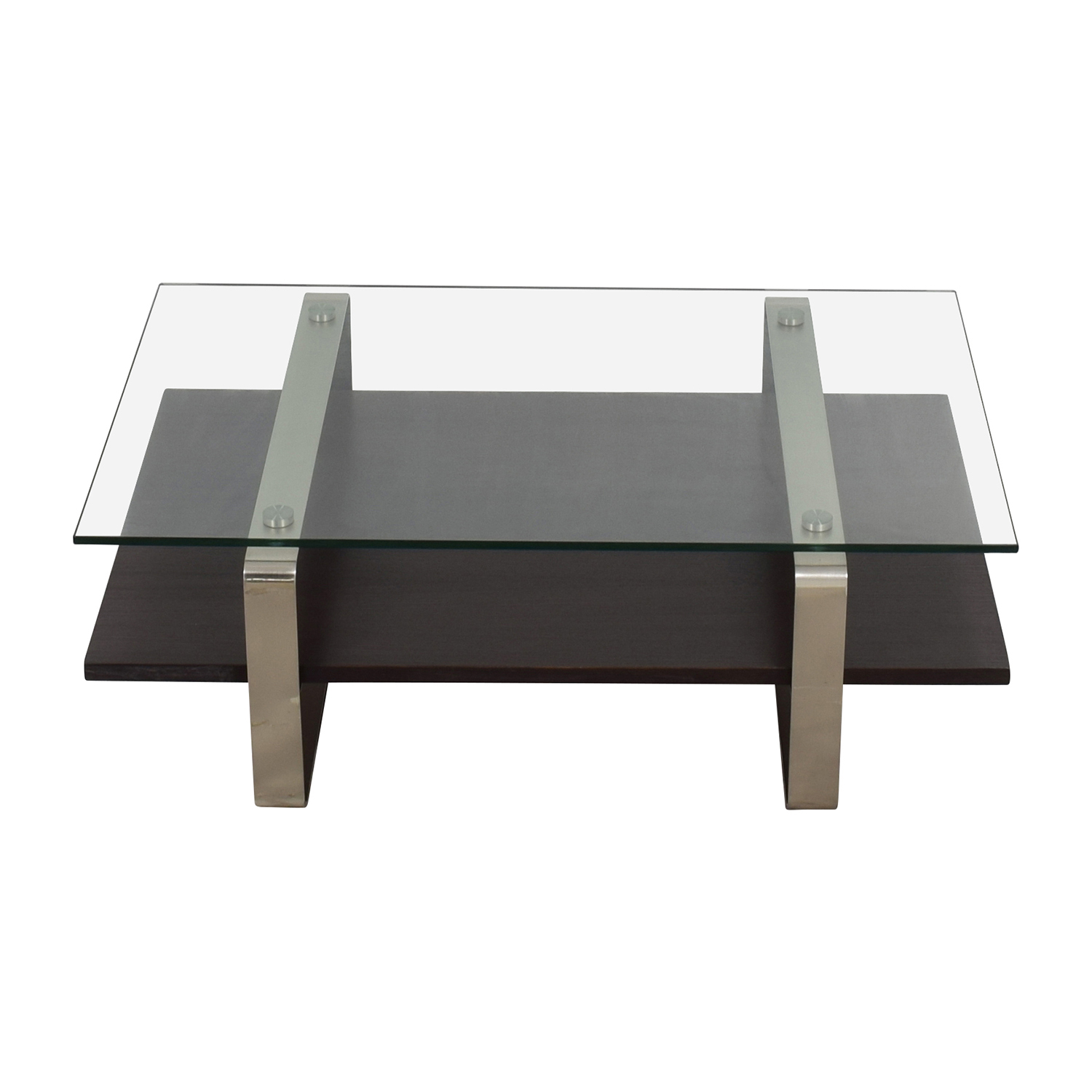 Glass Top and Wood and Metal Base Coffee Table for sale