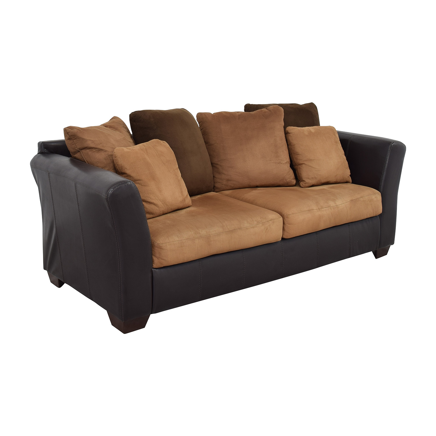 Ashley Furniture Sofa with Brown Throw Pillows / Classic Sofas