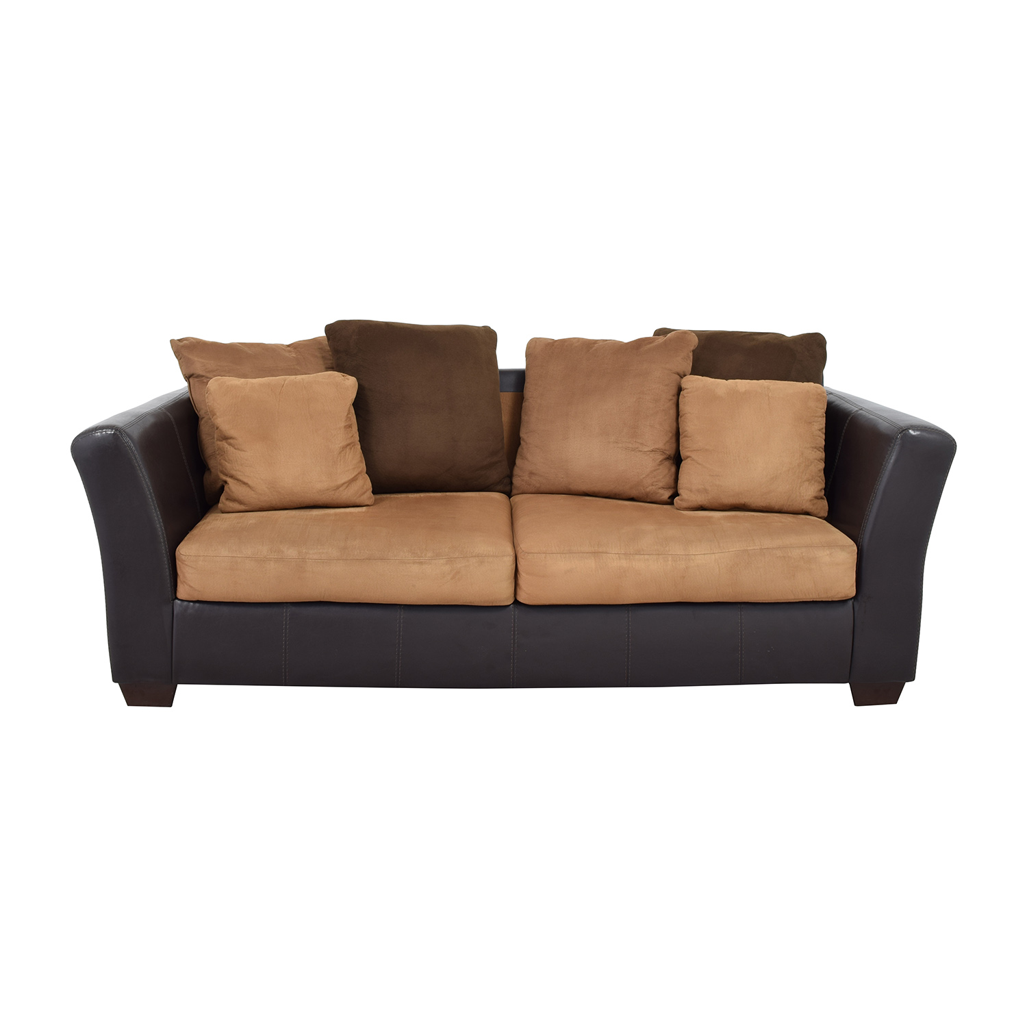 buy Ashley Furniture Sofa with Brown Throw Pillows Ashley Furniture