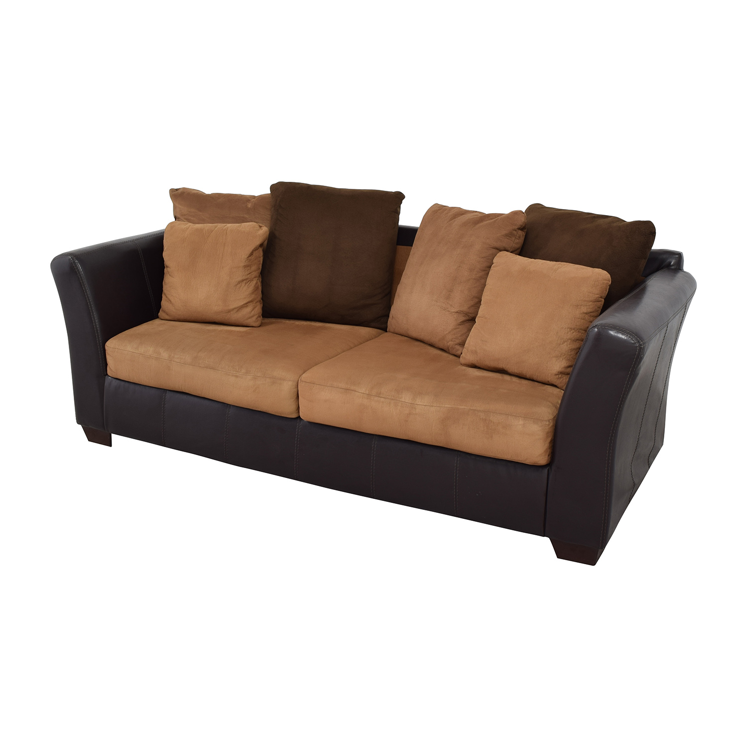 Ashley Furniture Ashley Furniture Sofa with Brown Throw Pillows discount