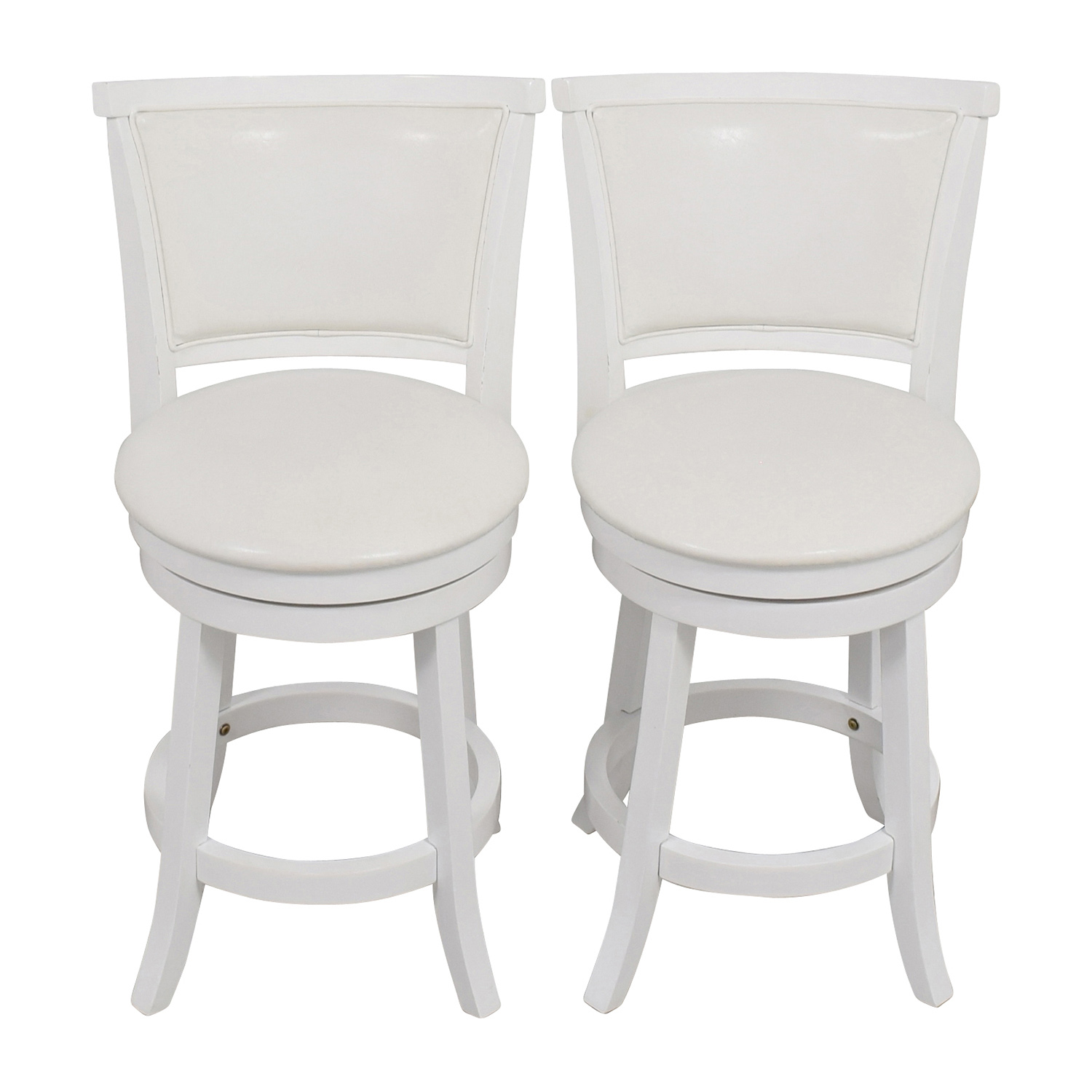 CorLiving CorLiving White Leatherette Swivel Counter Height Bar Stool Chairs
