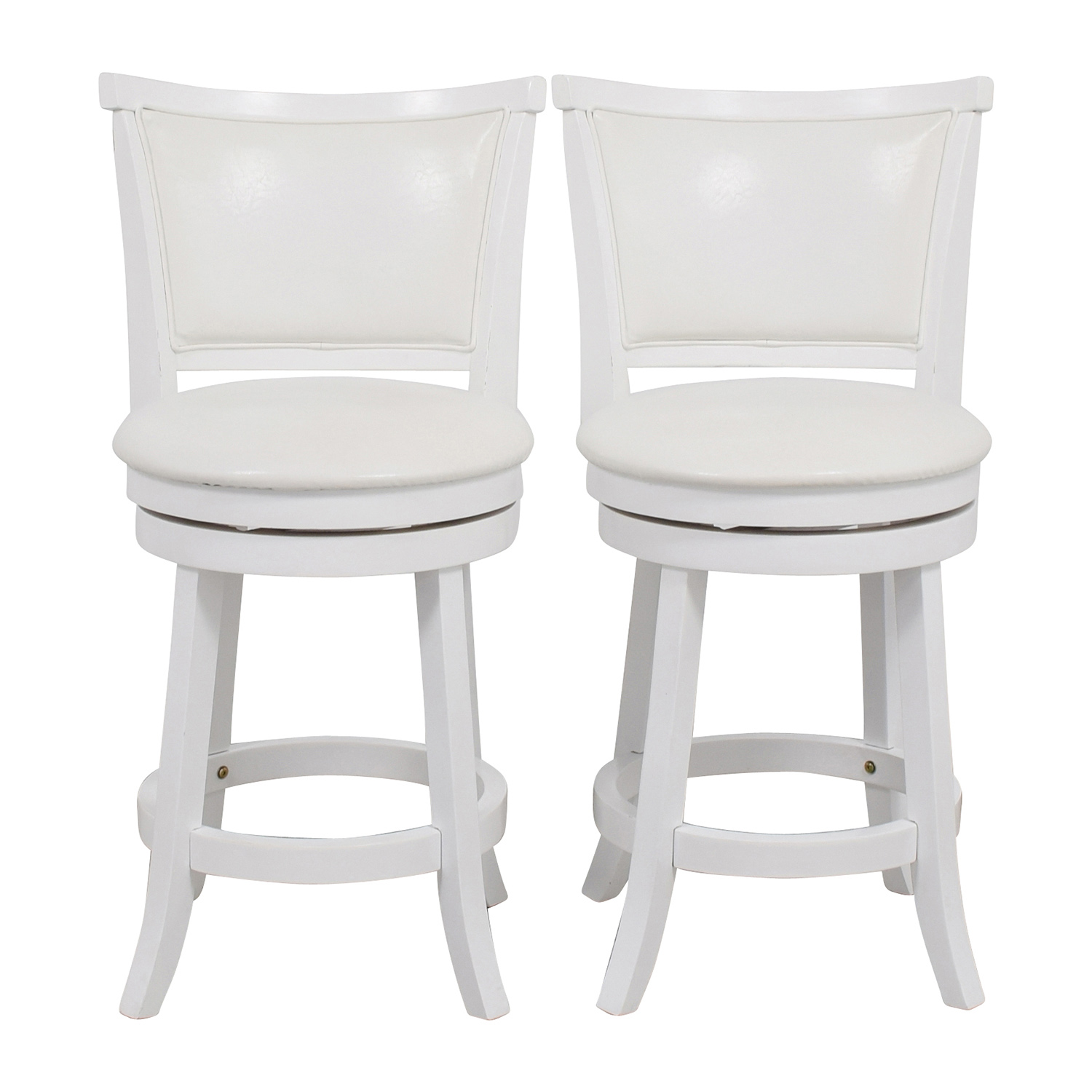 CorLiving White Leatherette Swivel Counter Height Bar Stool / Chairs