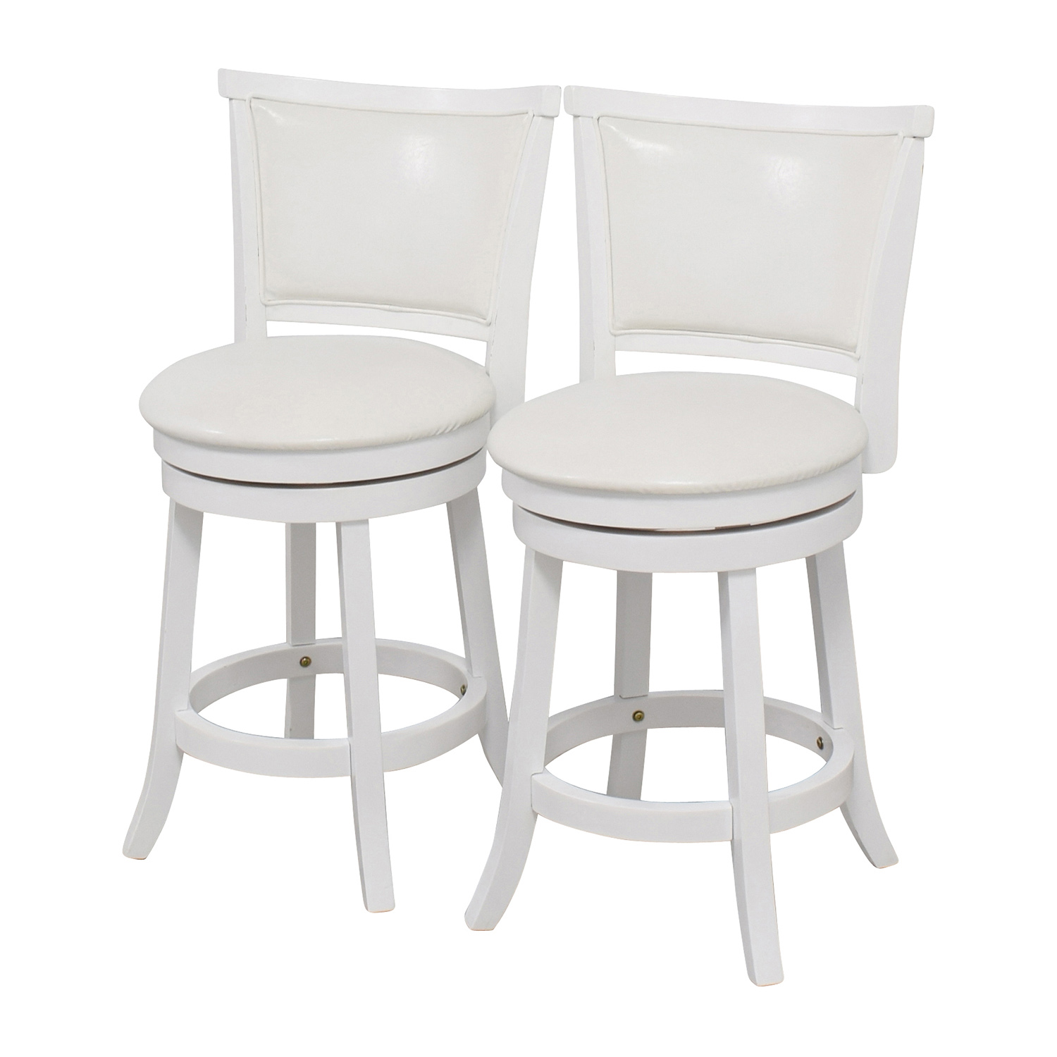 90 off corliving corliving white leatherette swivel counter height bar stool chairs. Black Bedroom Furniture Sets. Home Design Ideas