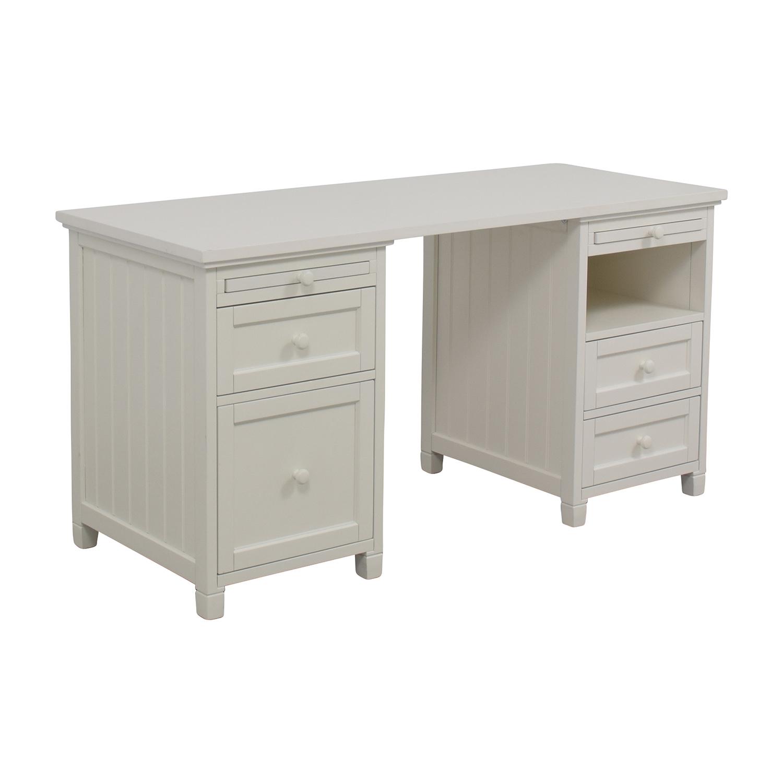... Buy Pottery Barn Off White Four Drawer Desk Pottery Barn Home Office  Desks ...