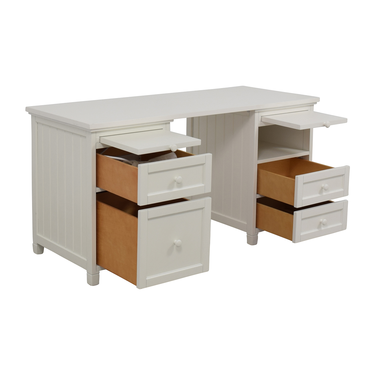 Pottery Barn Pottery Barn Off-White Four-Drawer Desk discount
