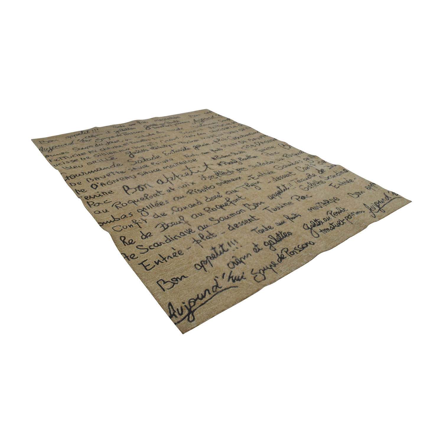 Beige with French Writing in Black Rug second hand