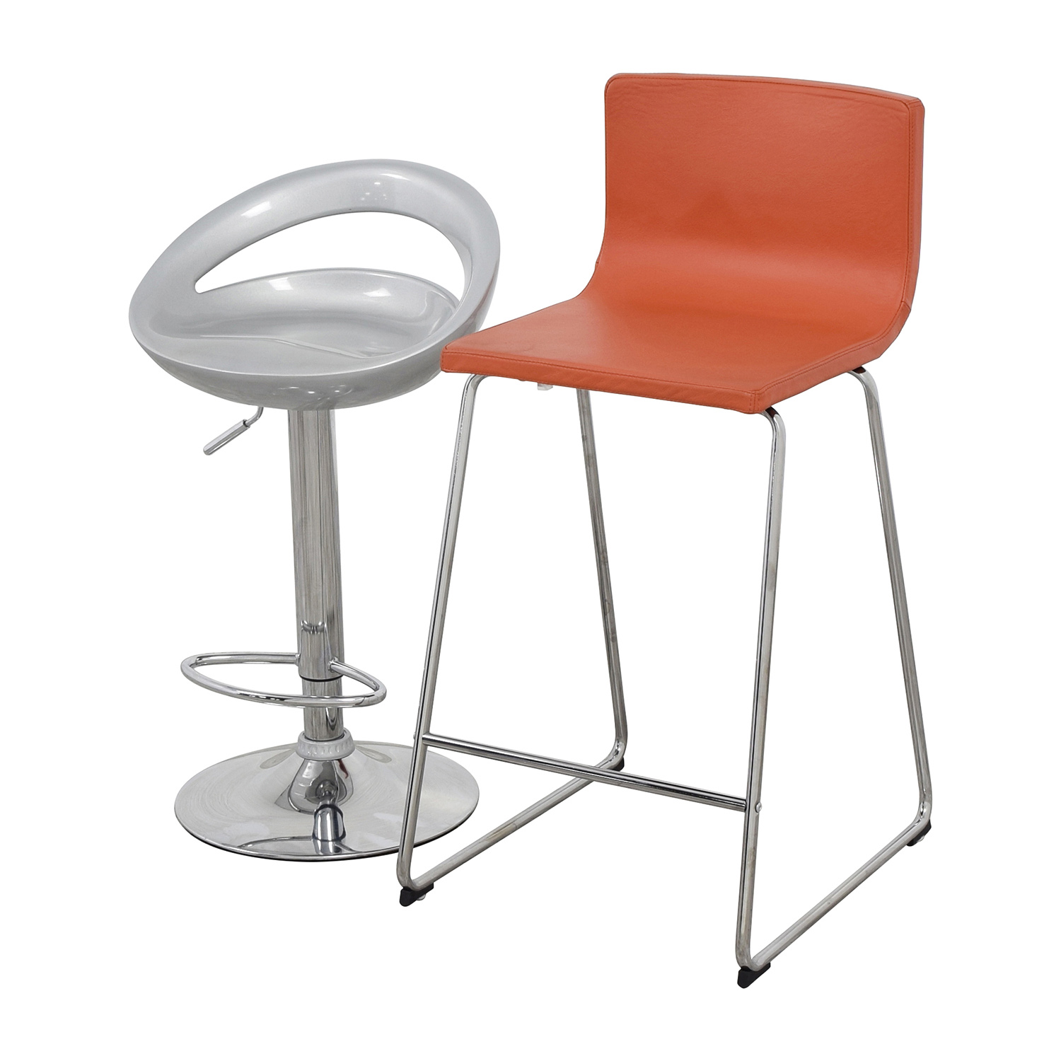 shop pair of modern orange and silver bar stools online